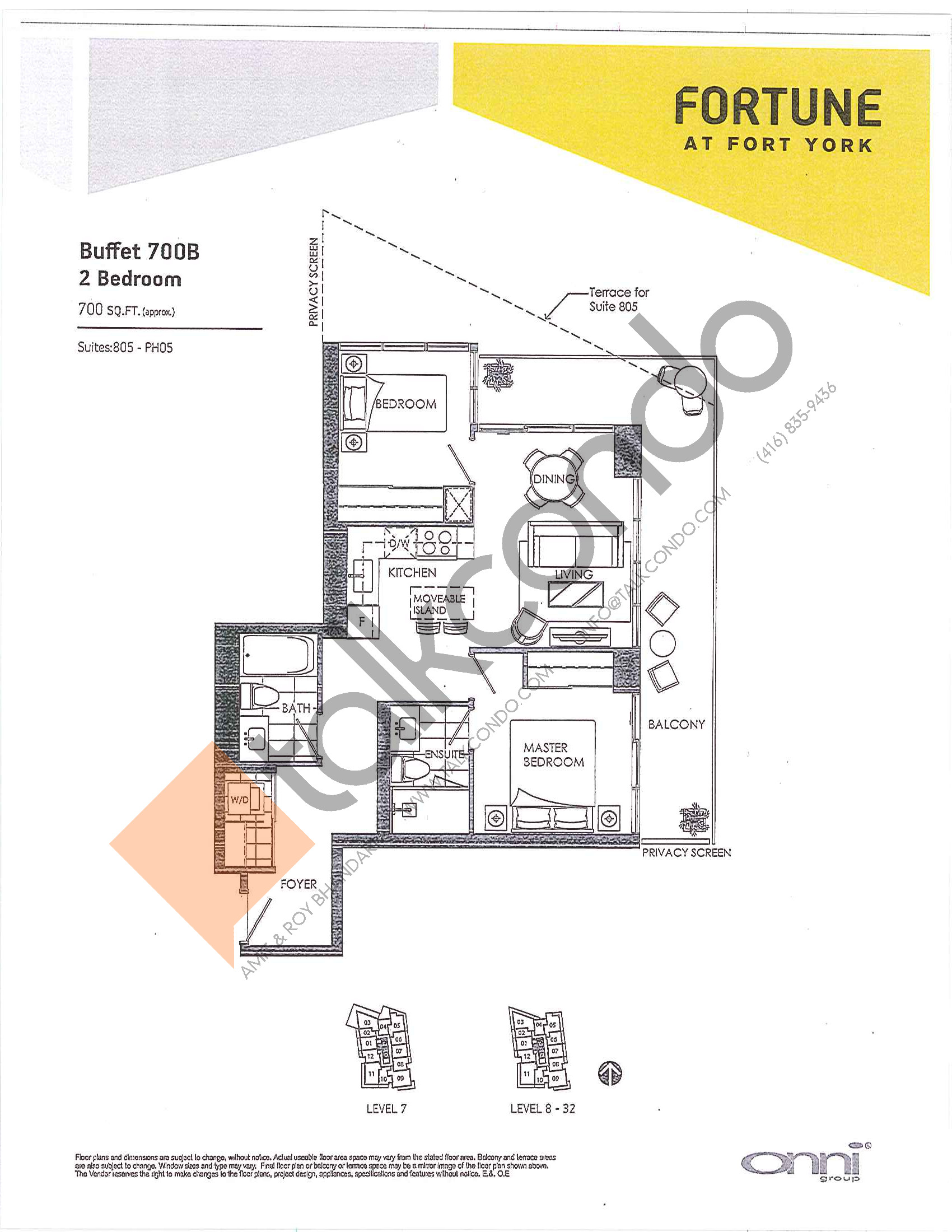 Buffet 700B Floor Plan at Fortune at Fort York - 700 sq.ft