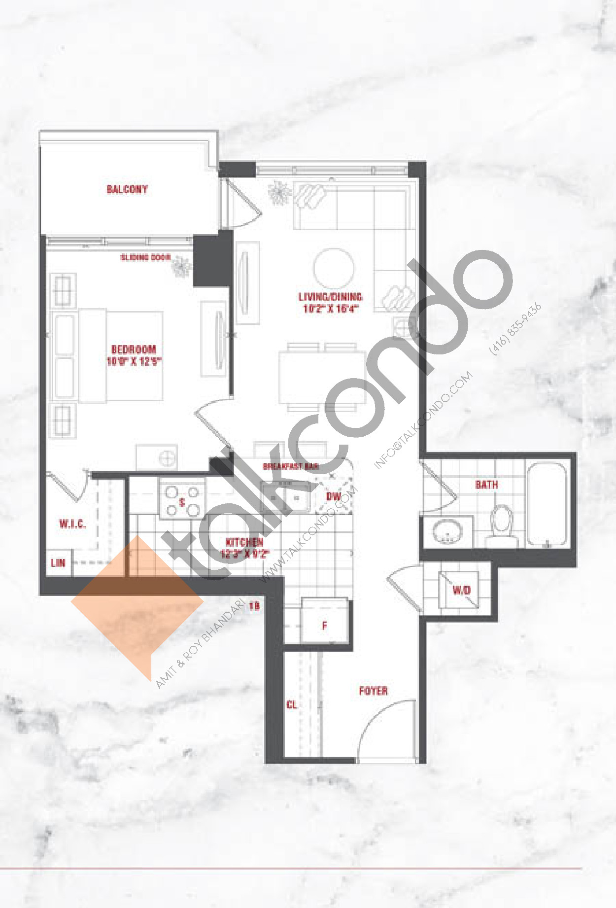Oasis Floor Plan at Grande Mirage Condos - 602 sq.ft