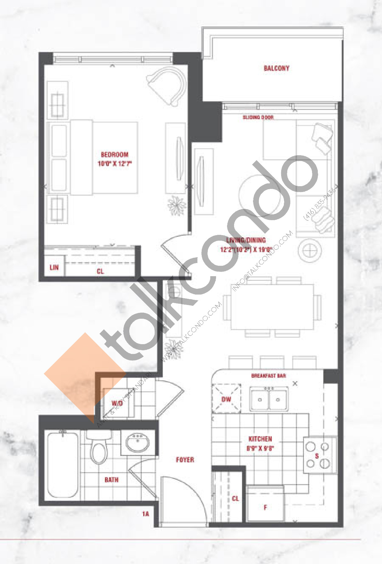 Paradise Floor Plan at Grande Mirage Condos - 583 sq.ft