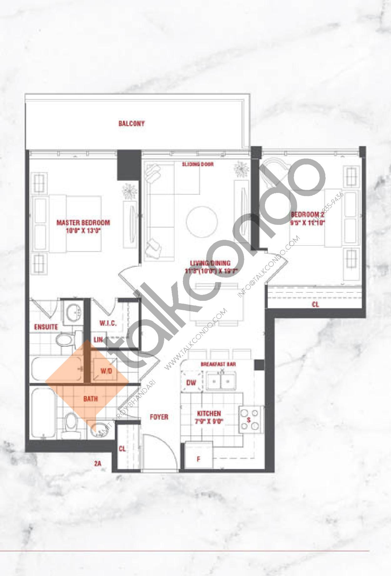 Riviera Floor Plan at Grande Mirage Condos - 781 sq.ft