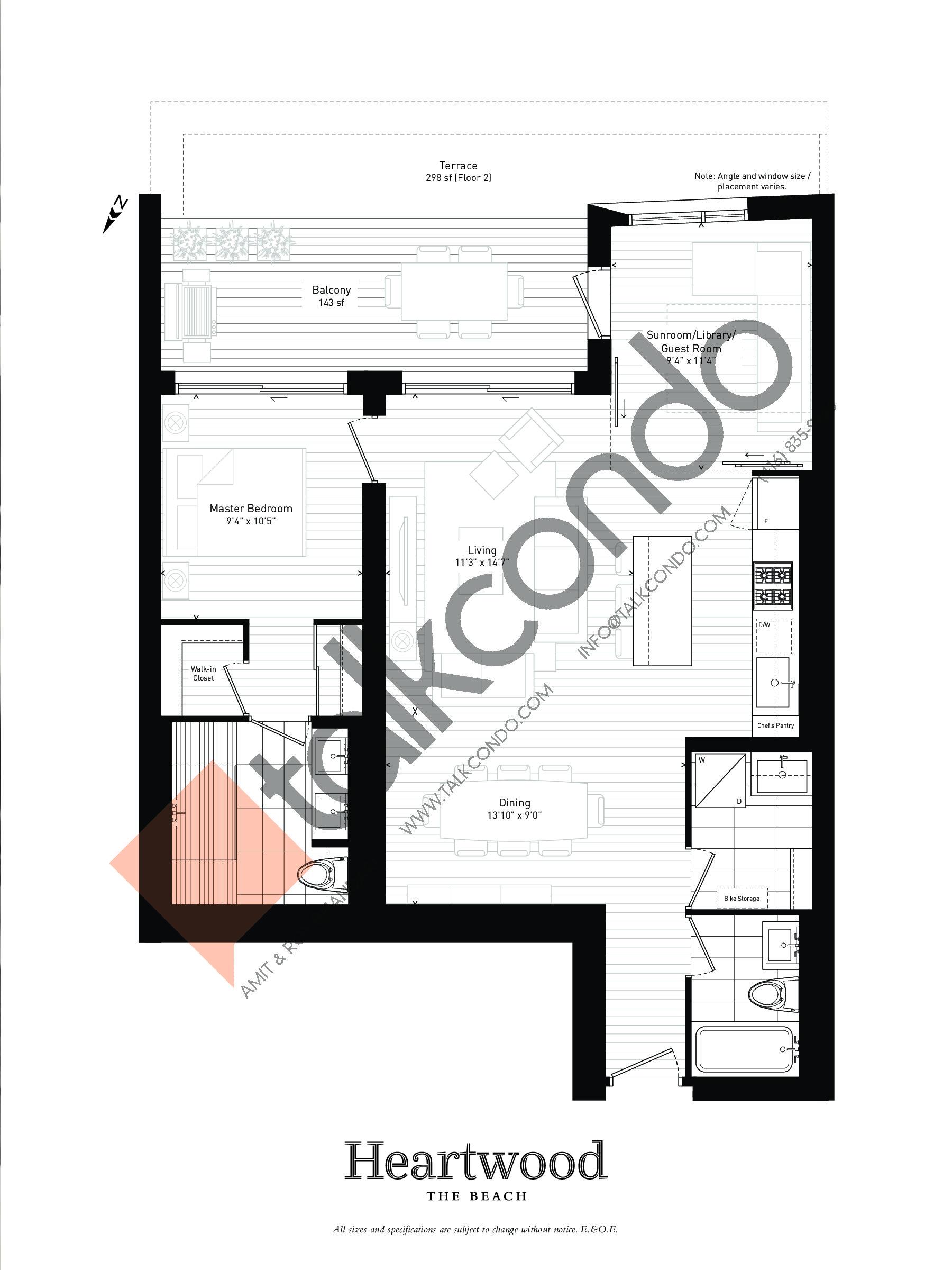 01 Floor Plan at Heartwood the Beach Condos - 1002 sq.ft