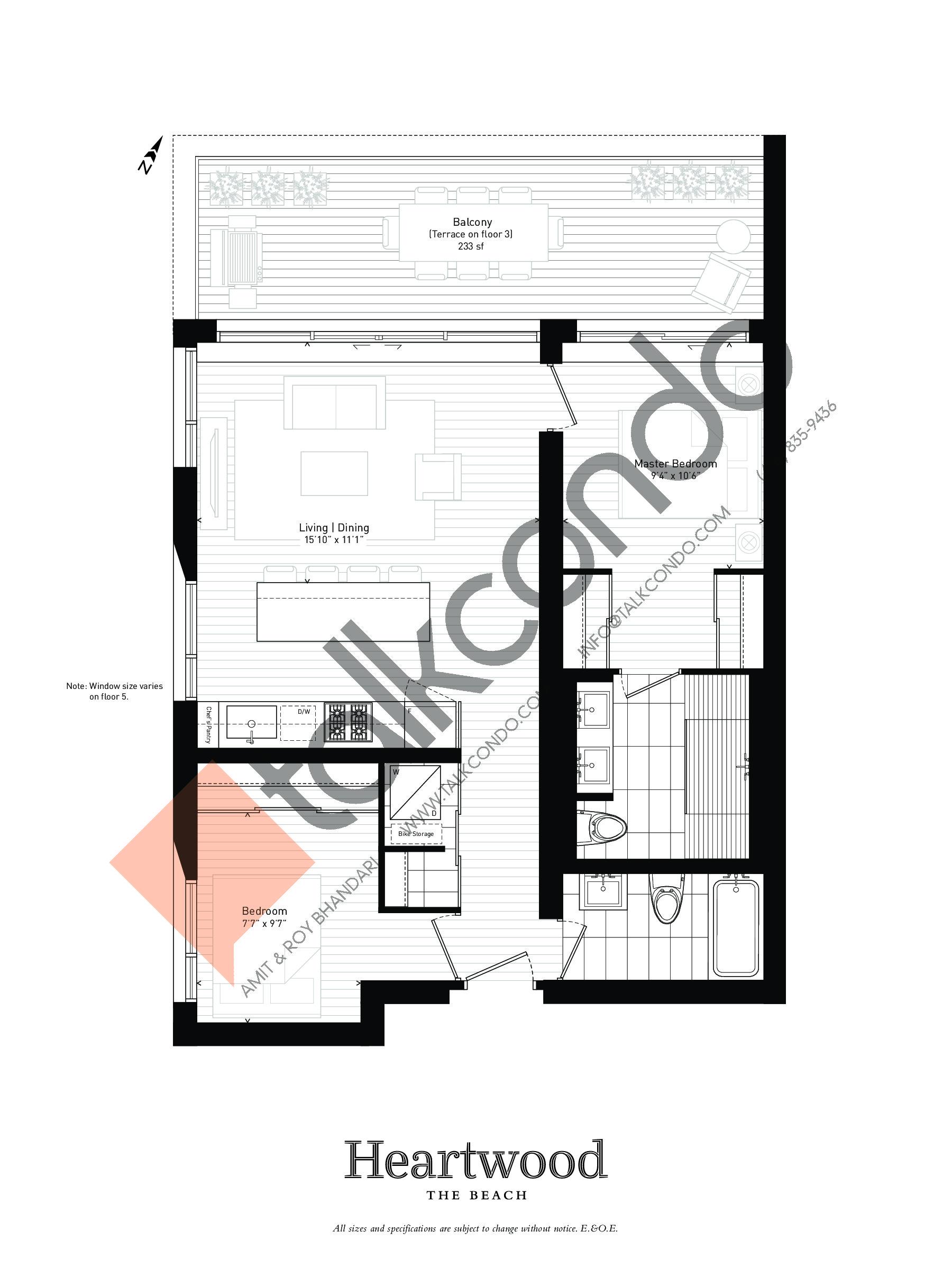 04 Floor Plan at Heartwood the Beach Condos - 923 sq.ft