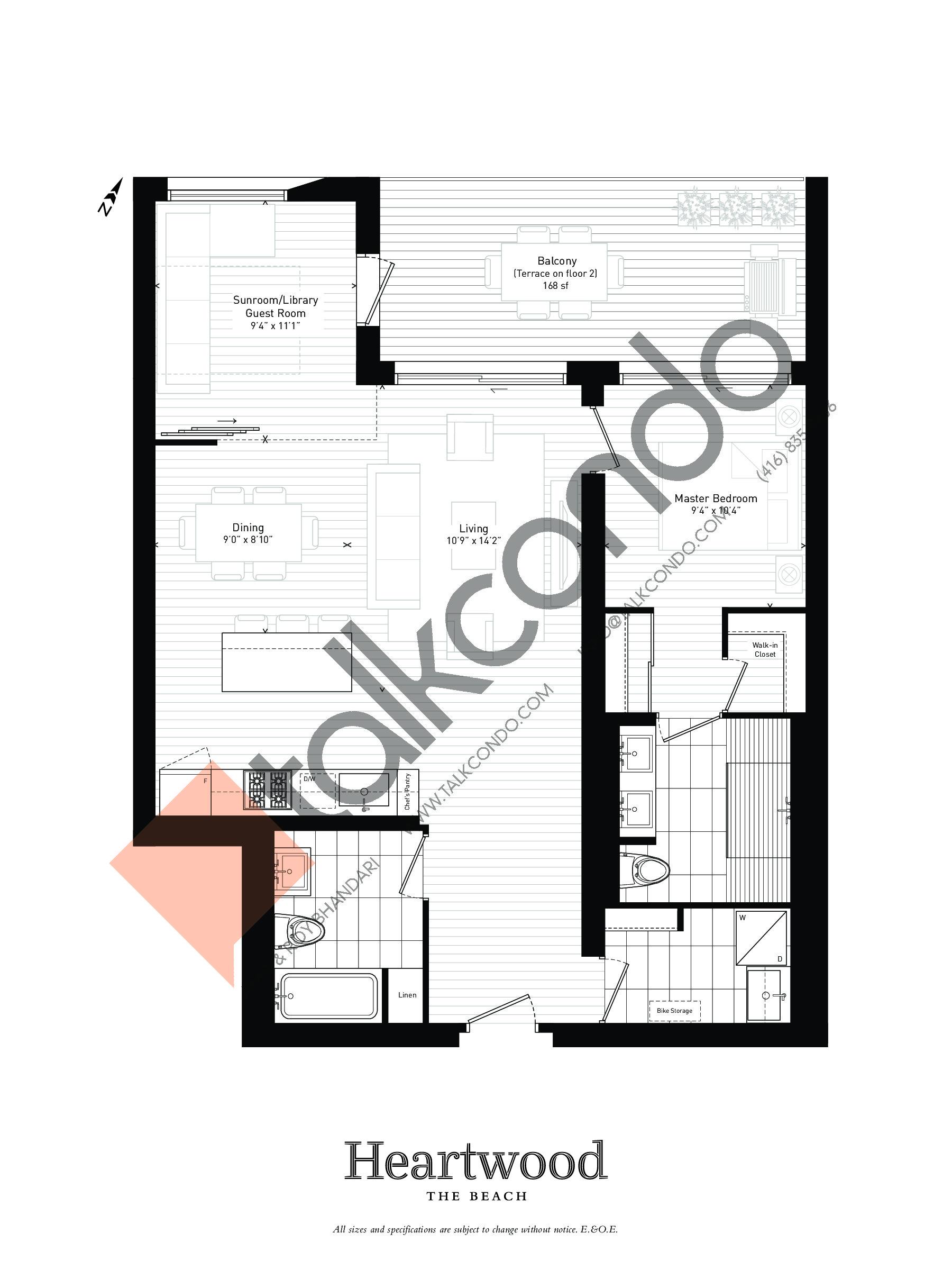 06 Floor Plan at Heartwood the Beach Condos - 1064 sq.ft