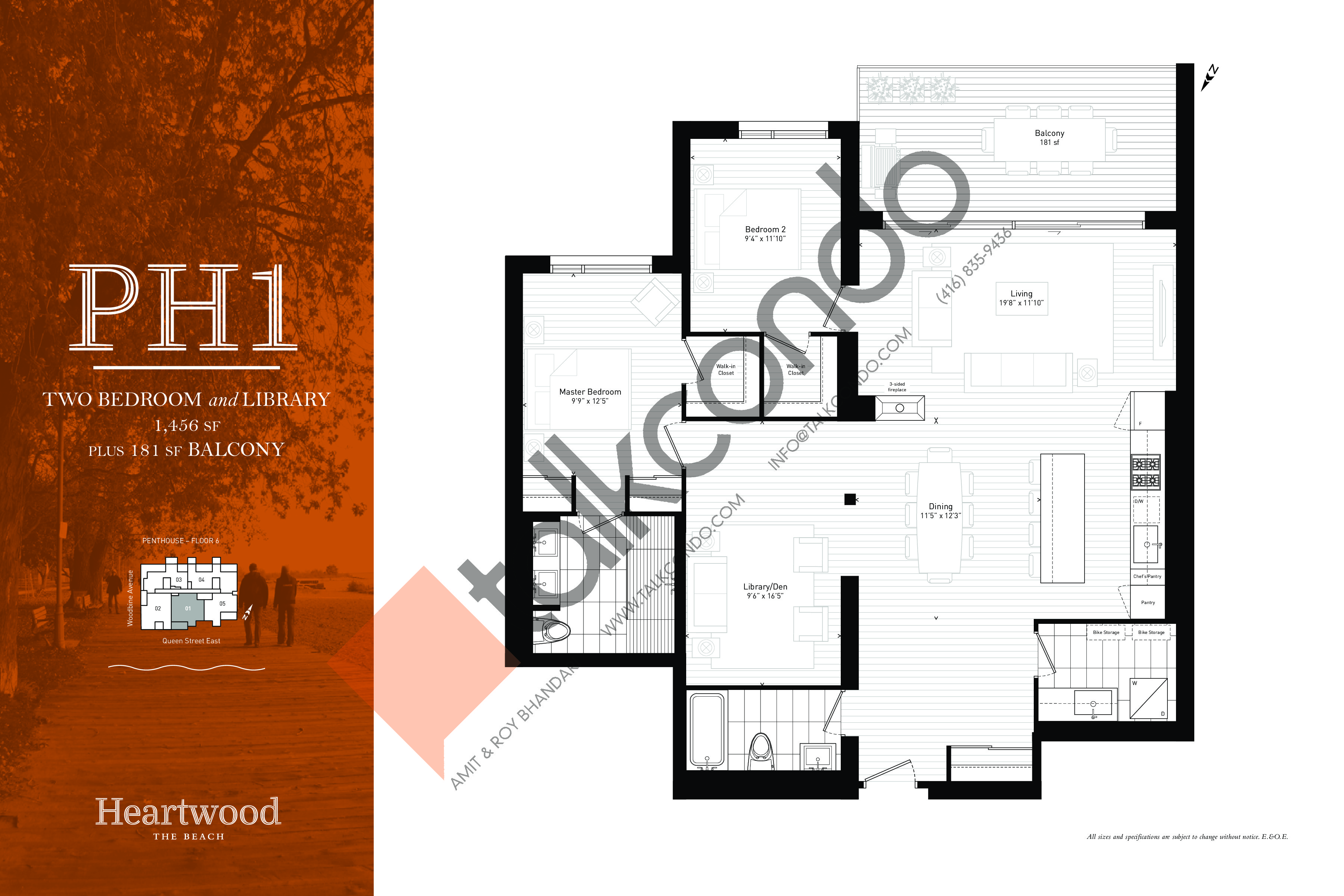 PH1 Floor Plan at Heartwood the Beach Condos - 1456 sq.ft