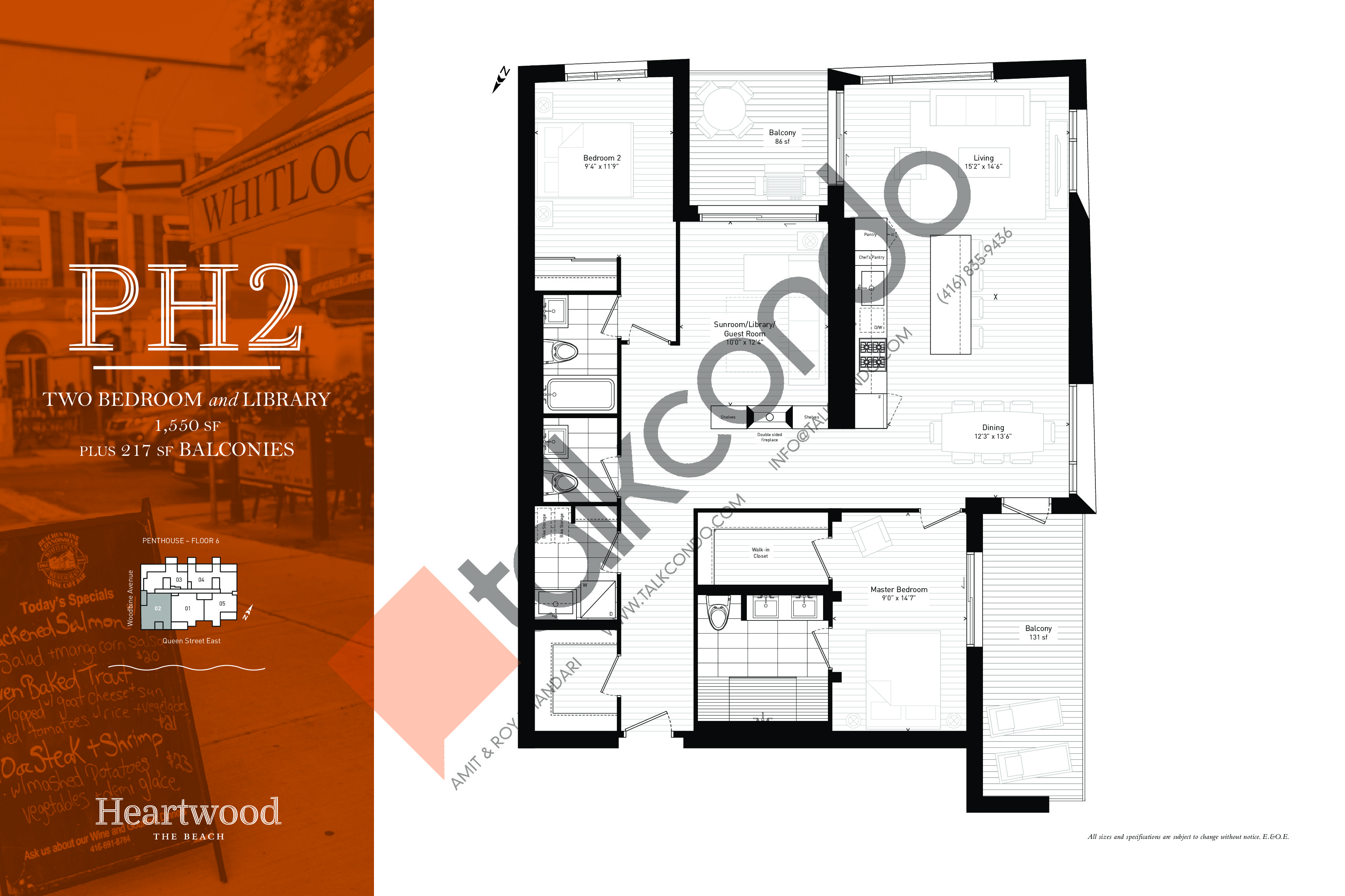 PH2 Floor Plan at Heartwood the Beach Condos - 1550 sq.ft
