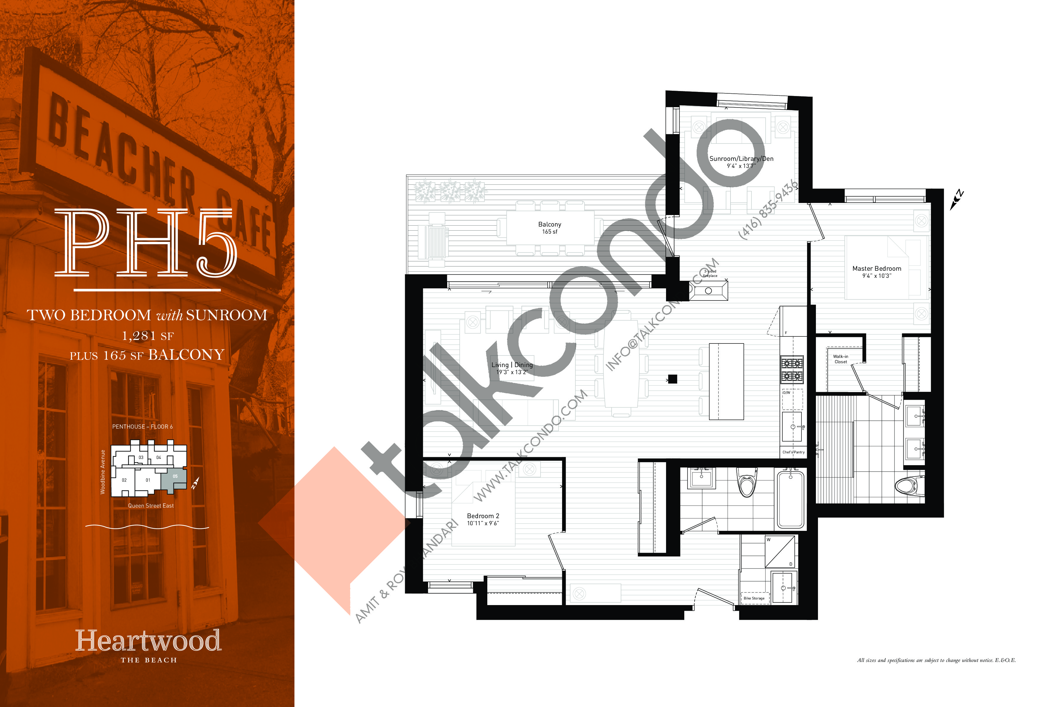PH5 Floor Plan at Heartwood the Beach Condos - 1281 sq.ft