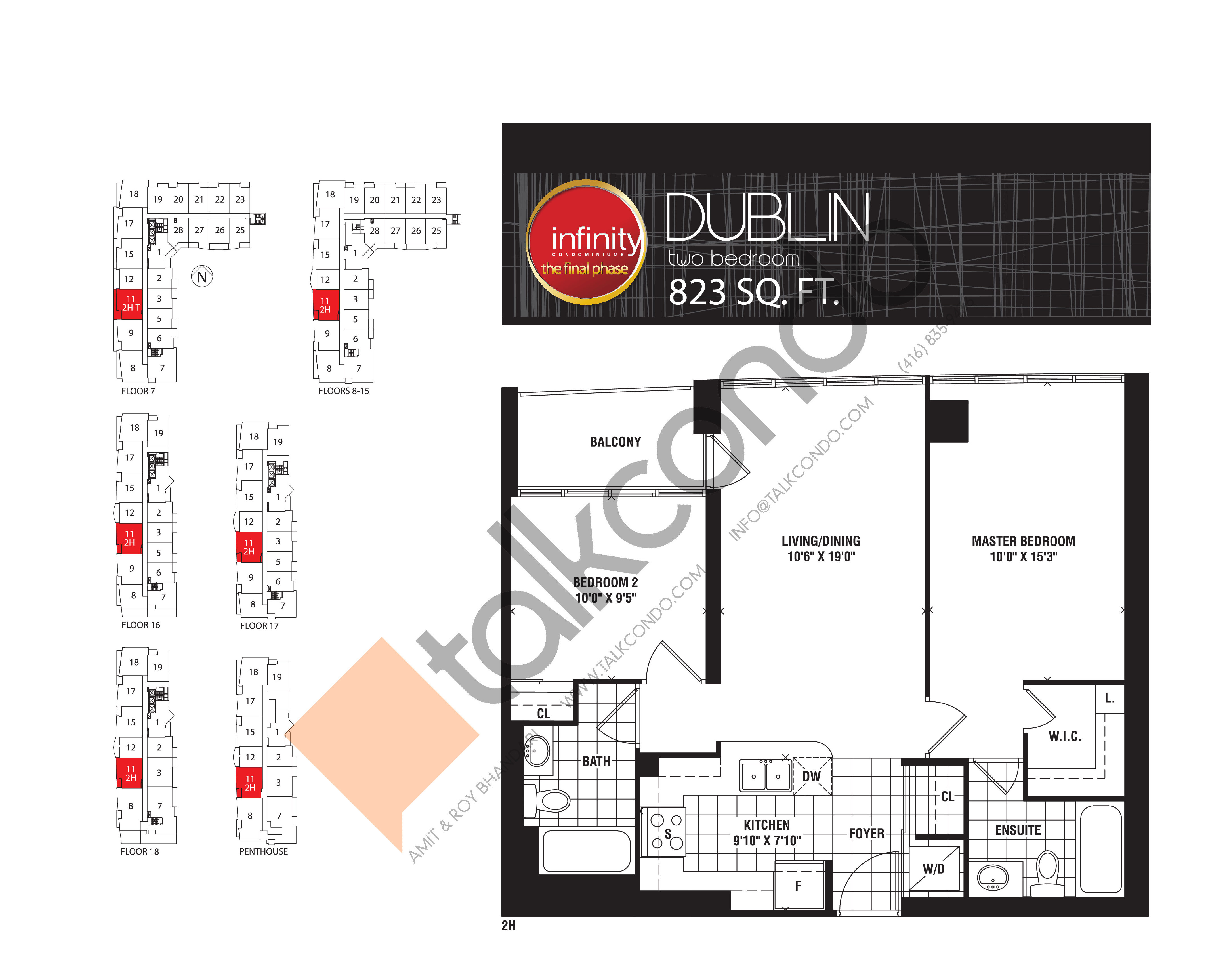 Dublin Floor Plan at Infinity: The Final Phase Condos - 823 sq.ft