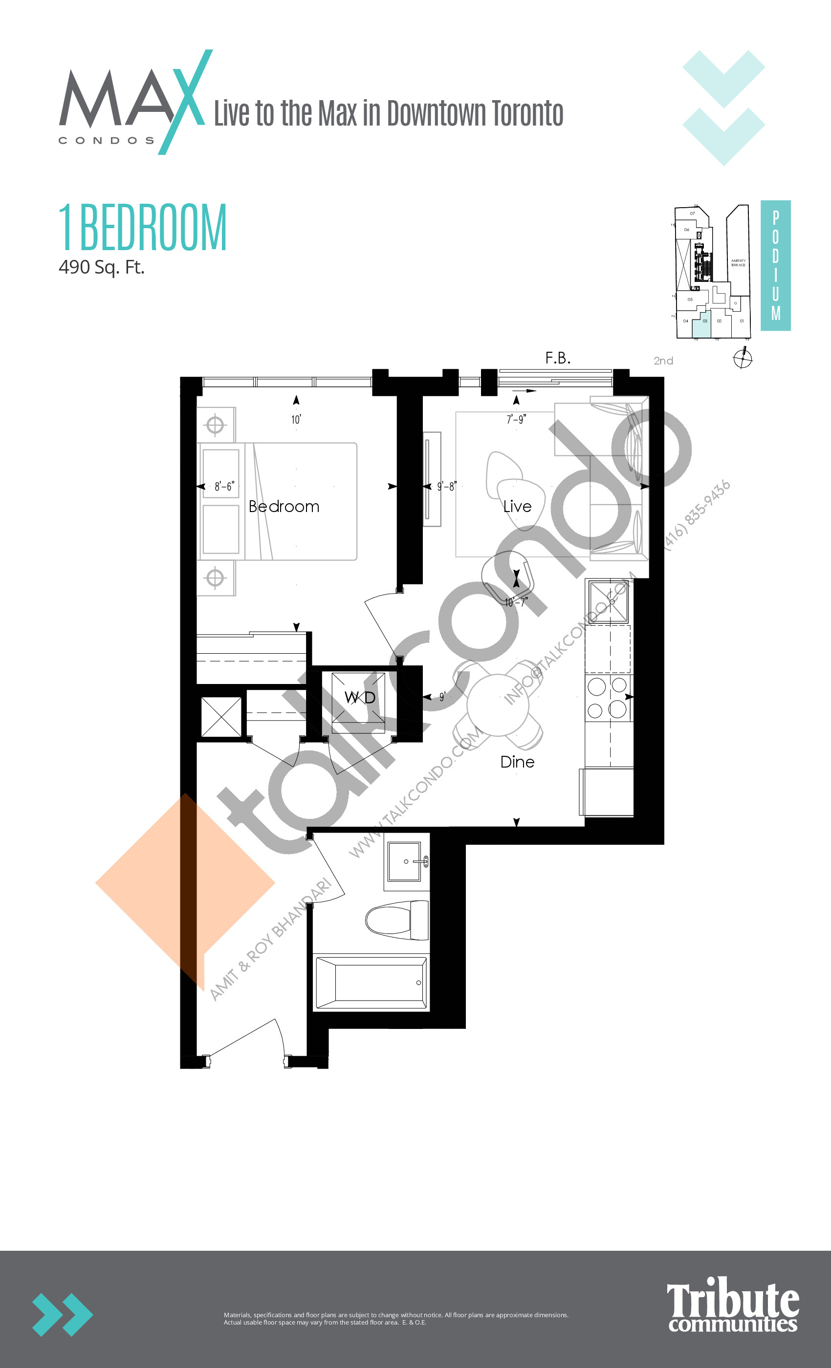 Suite 06 Floor Plan at Max Condos - 430 sq.ft