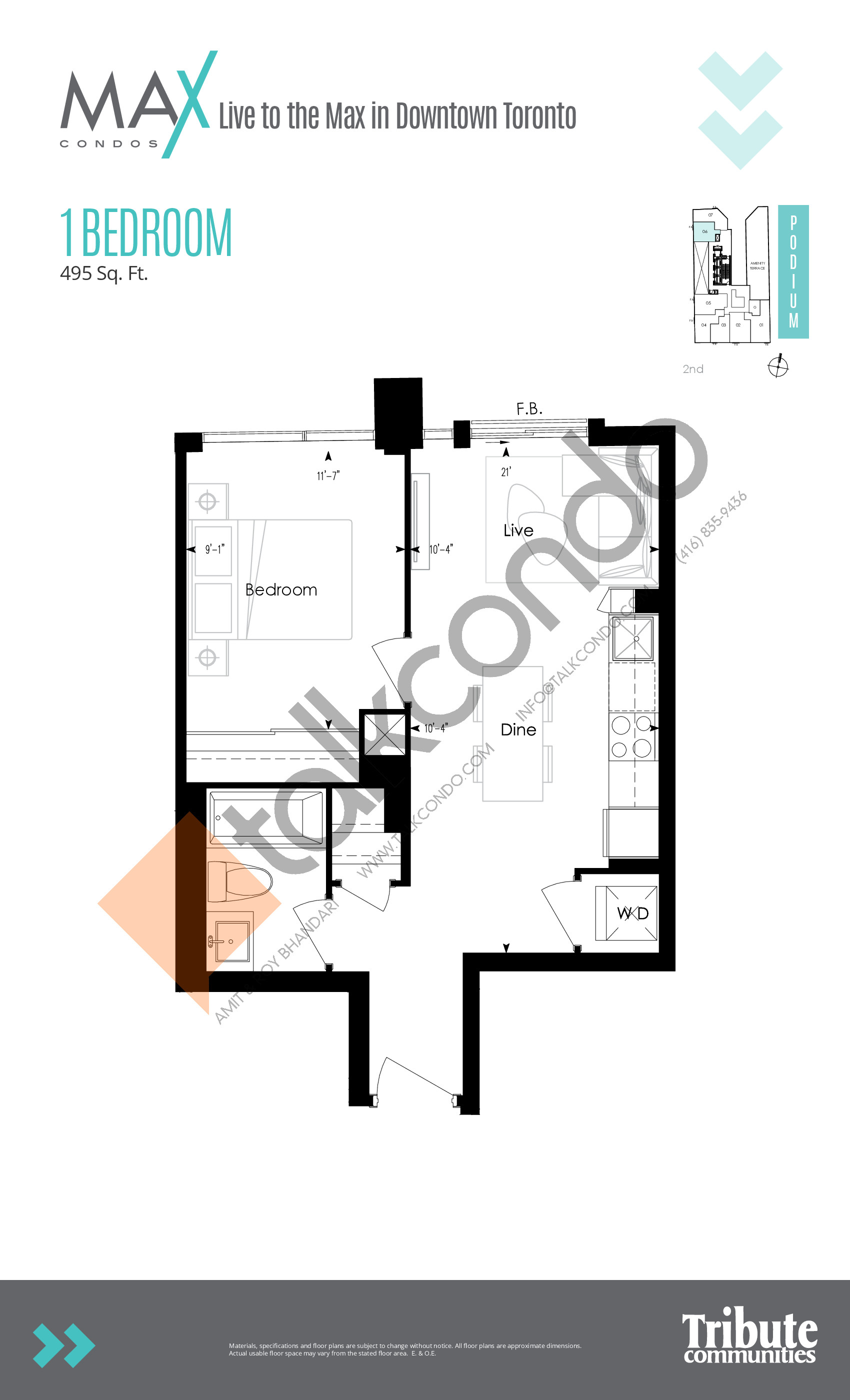 Podium 06 Floor Plan at Max Condos - 495 sq.ft
