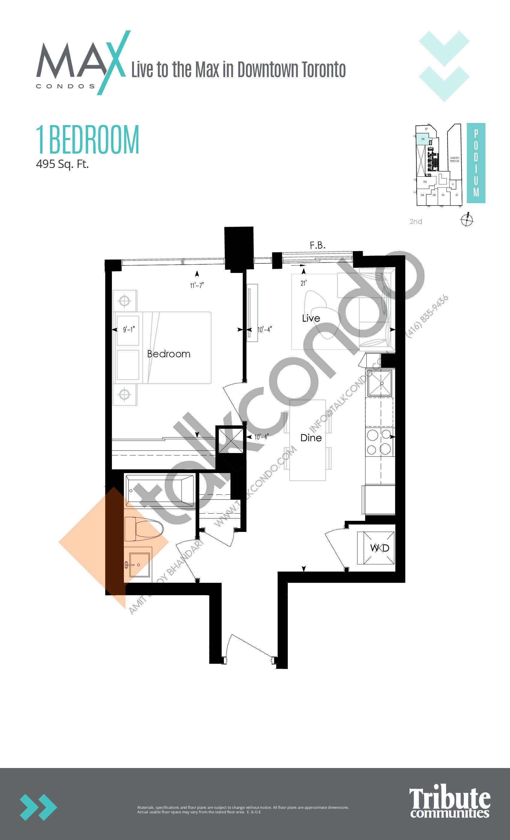 Suite 07 Floor Plan at Max Condos - 440 sq.ft