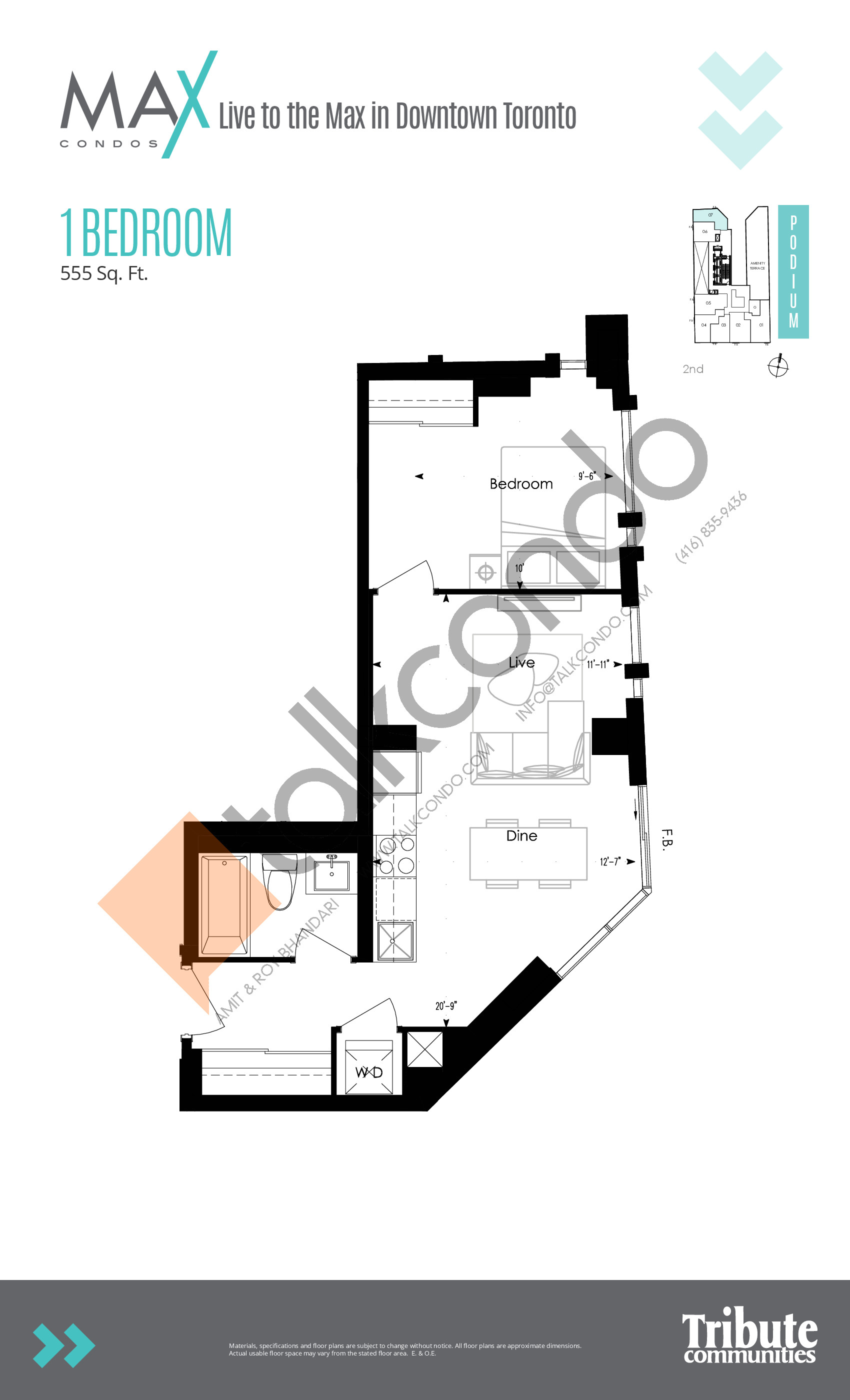 Suite 03 Floor Plan at Max Condos - 480 sq.ft