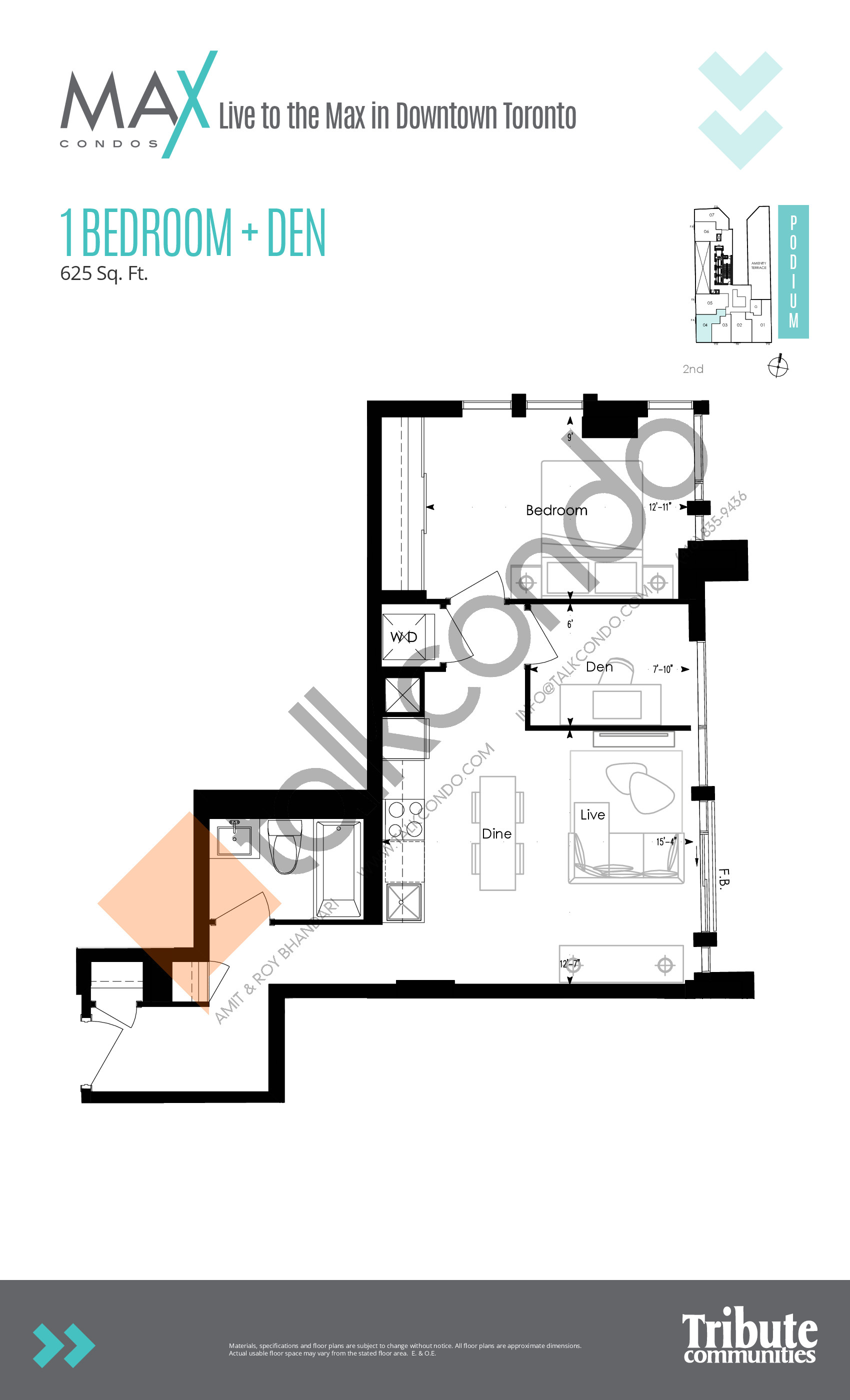 Suite 11 Floor Plan at Max Condos - 530 sq.ft