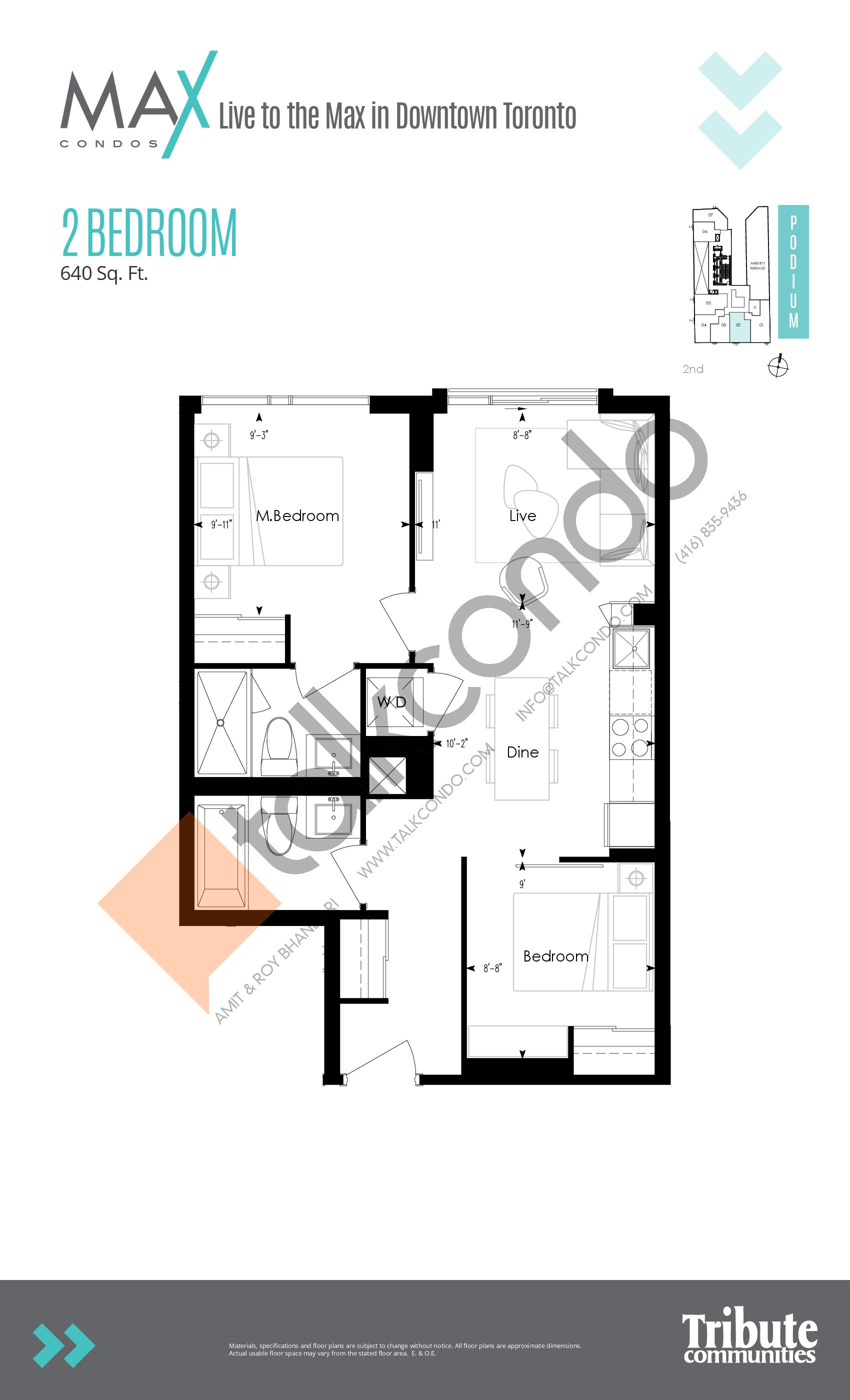 Podium 02 Floor Plan at Max Condos - 640 sq.ft