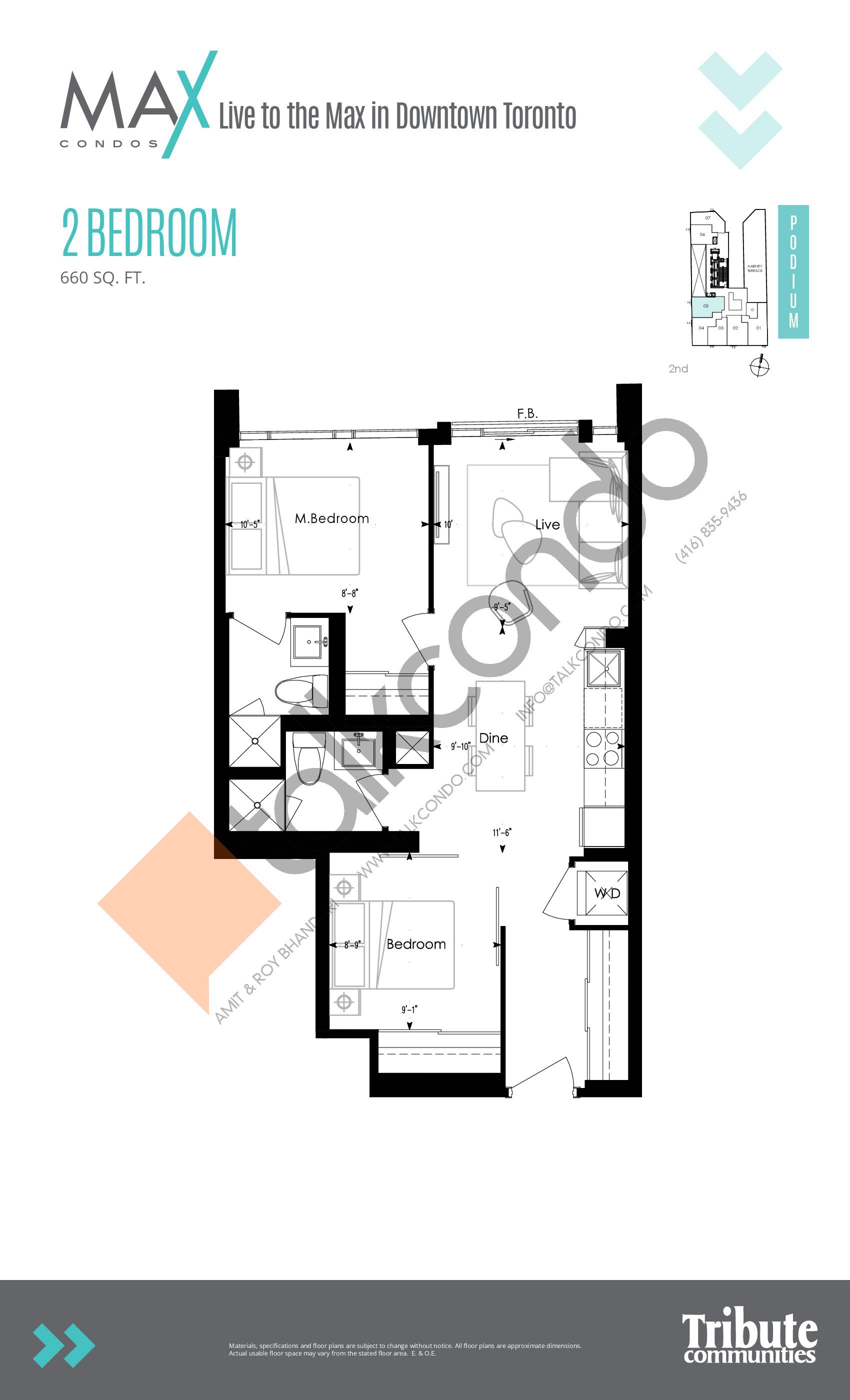 Podium 05 Floor Plan at Max Condos - 660 sq.ft