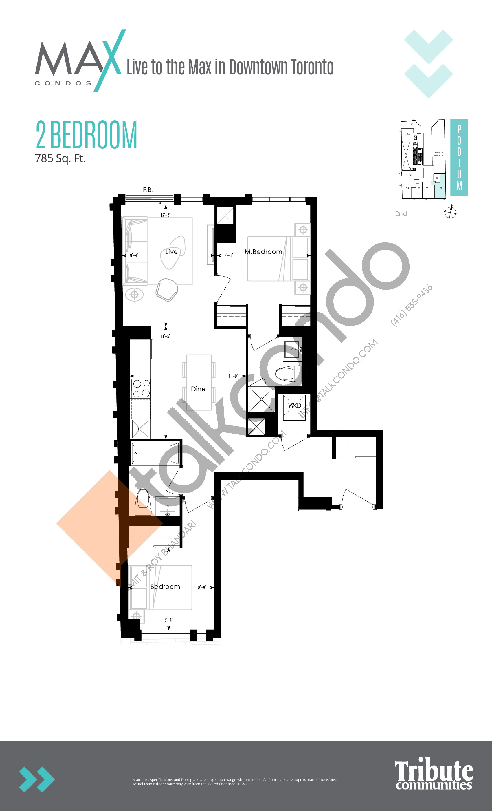 Suite 01 Floor Plan at Max Condos - 580 sq.ft