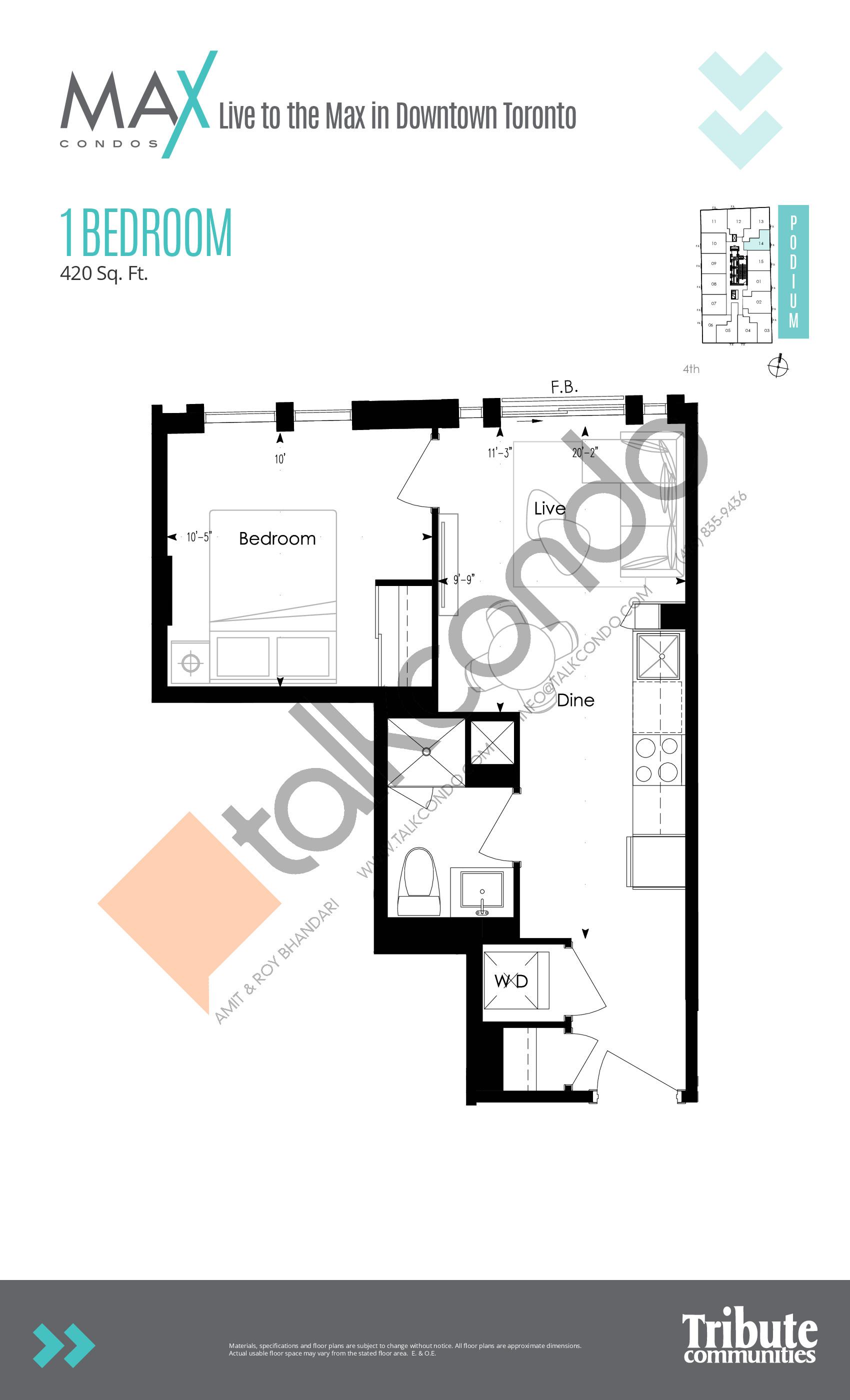 Suite 05 Floor Plan at Max Condos - 610 sq.ft