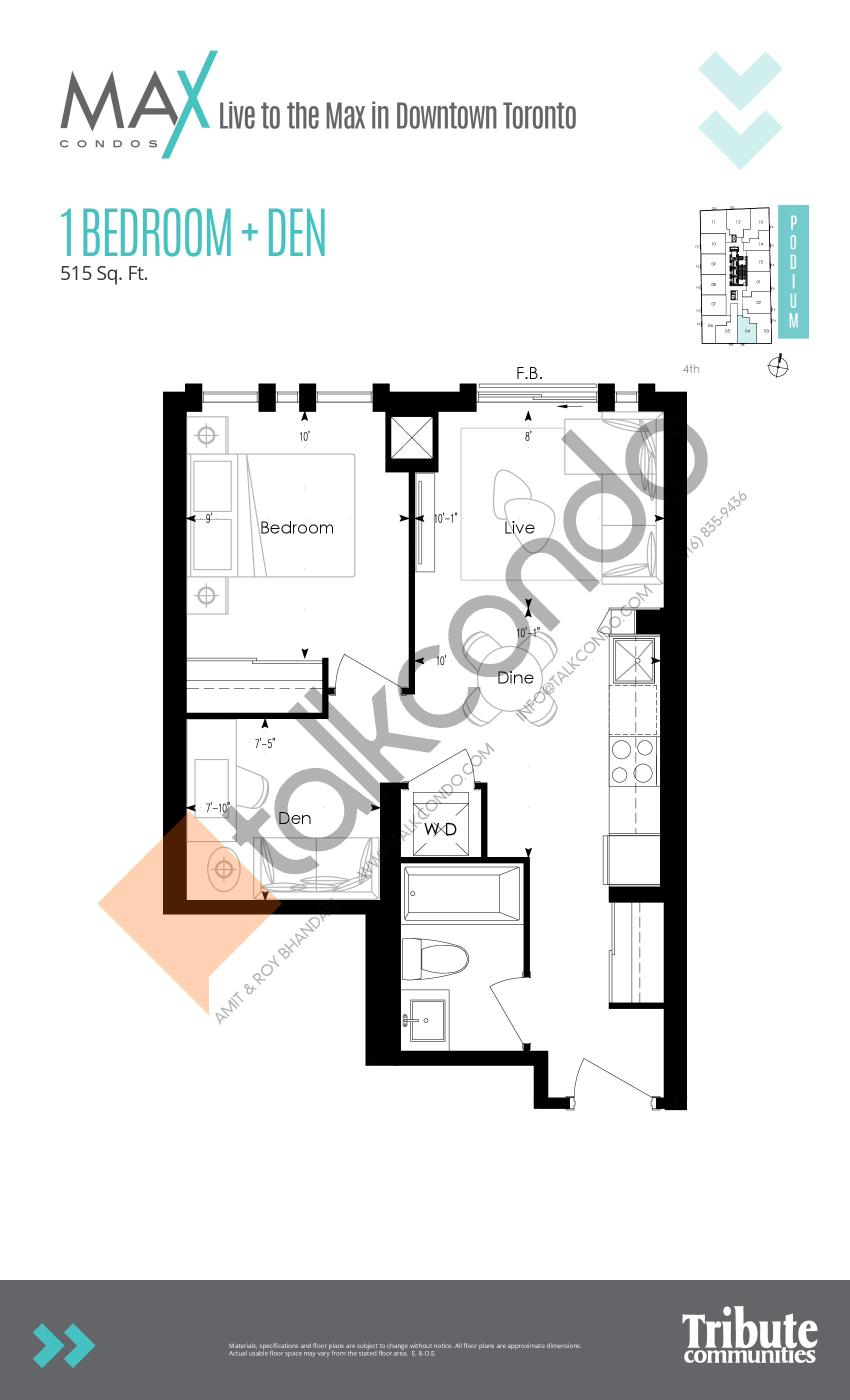 Podium 04 Floor Plan at Max Condos - 515 sq.ft