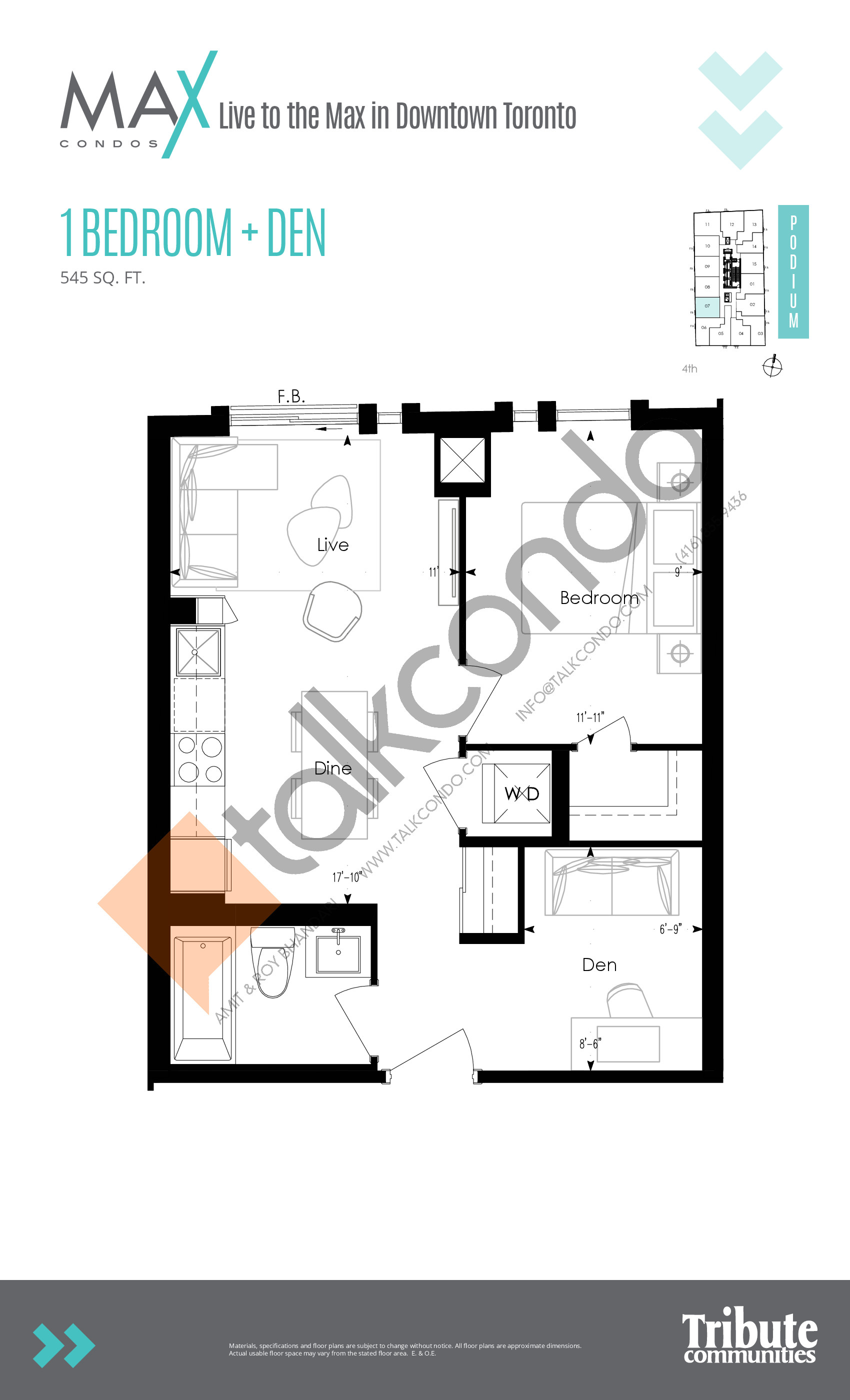 Podium 07 Floor Plan at Max Condos - 545 sq.ft