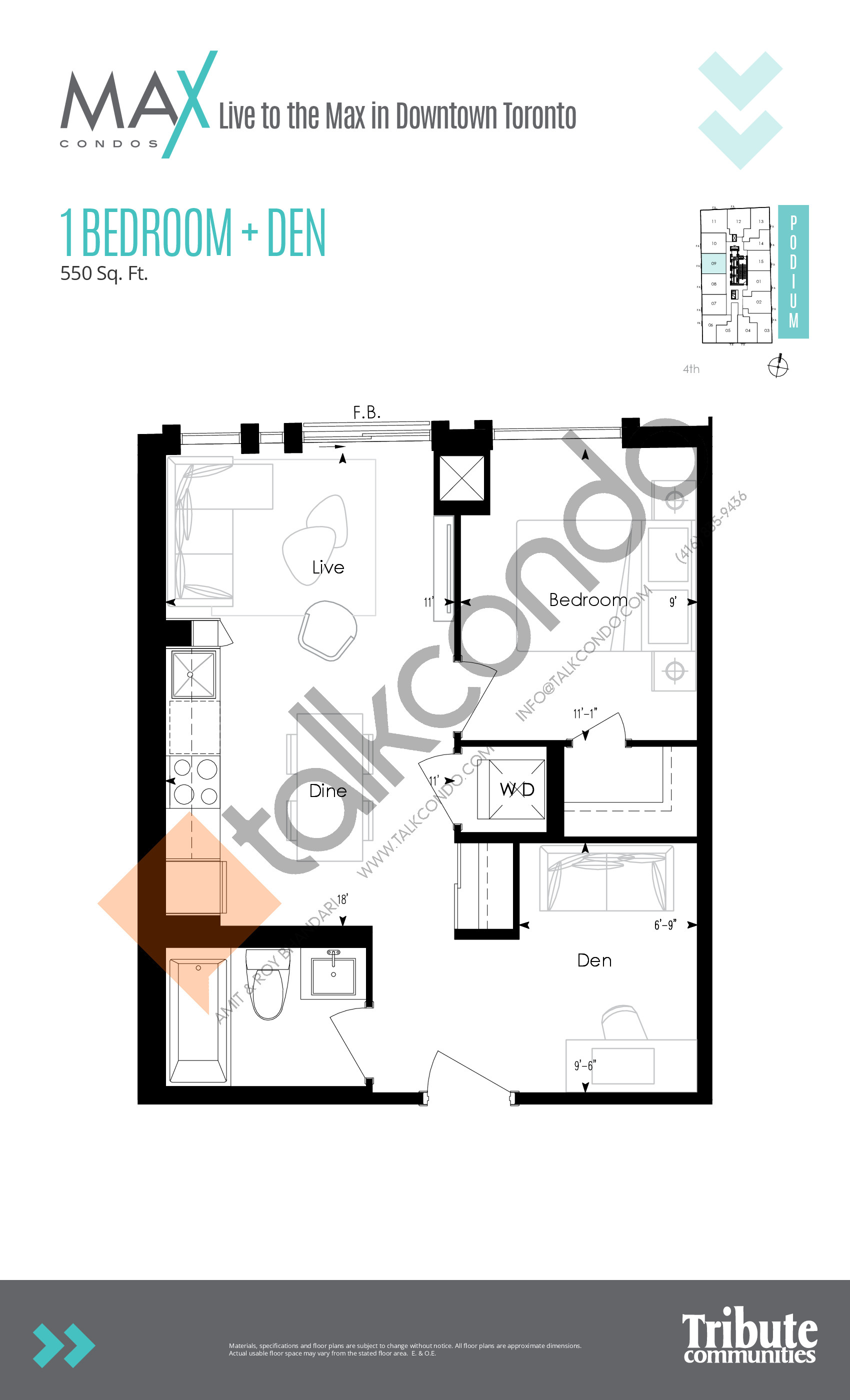 Podium 09 Floor Plan at Max Condos - 550 sq.ft