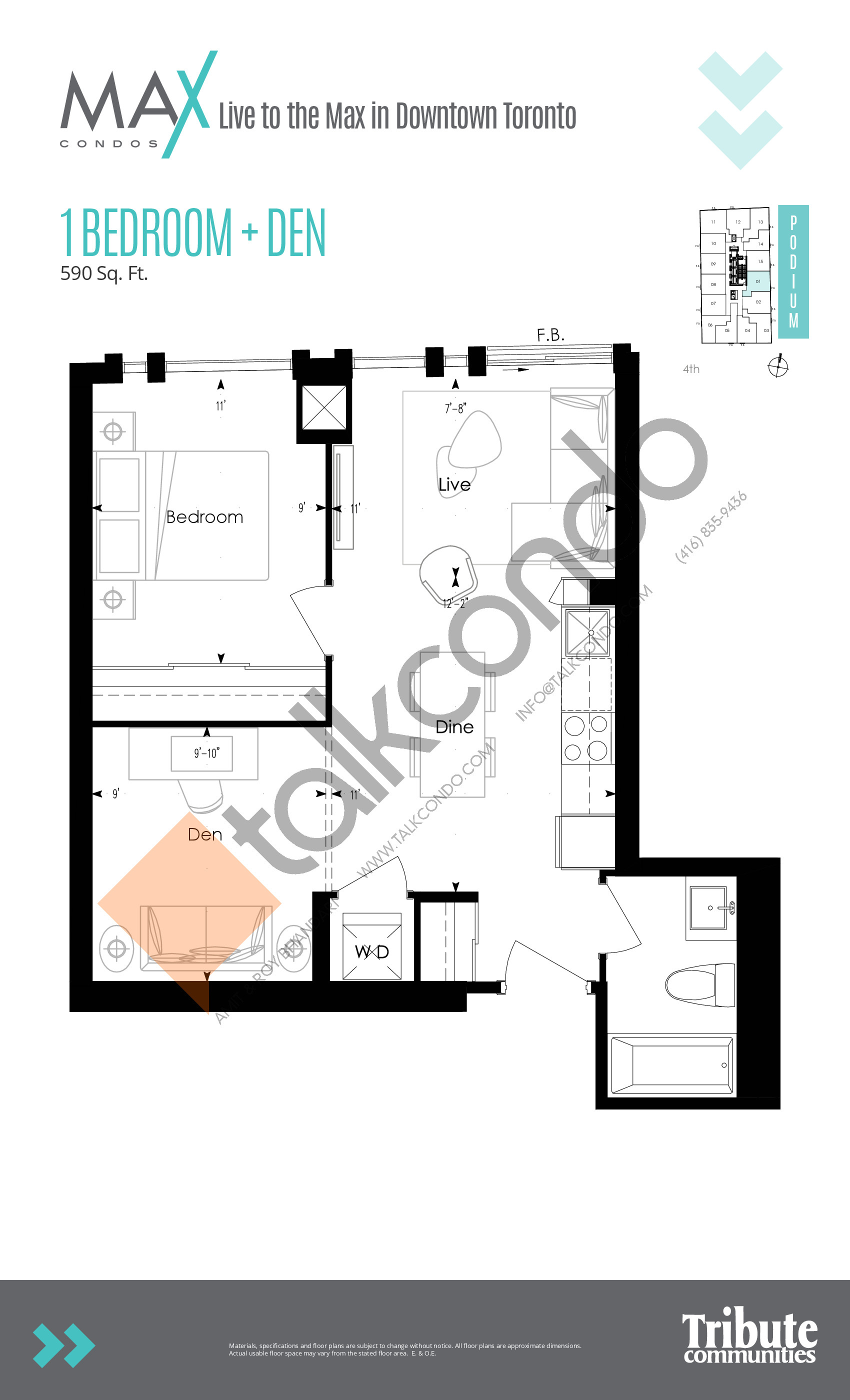 Podium 01 Floor Plan at Max Condos - 590 sq.ft