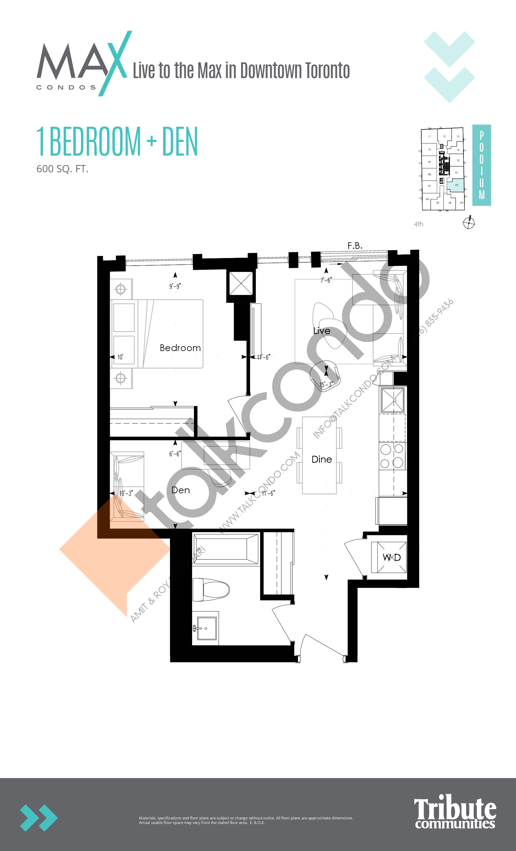 Podium 02 Floor Plan at Max Condos - 600 sq.ft