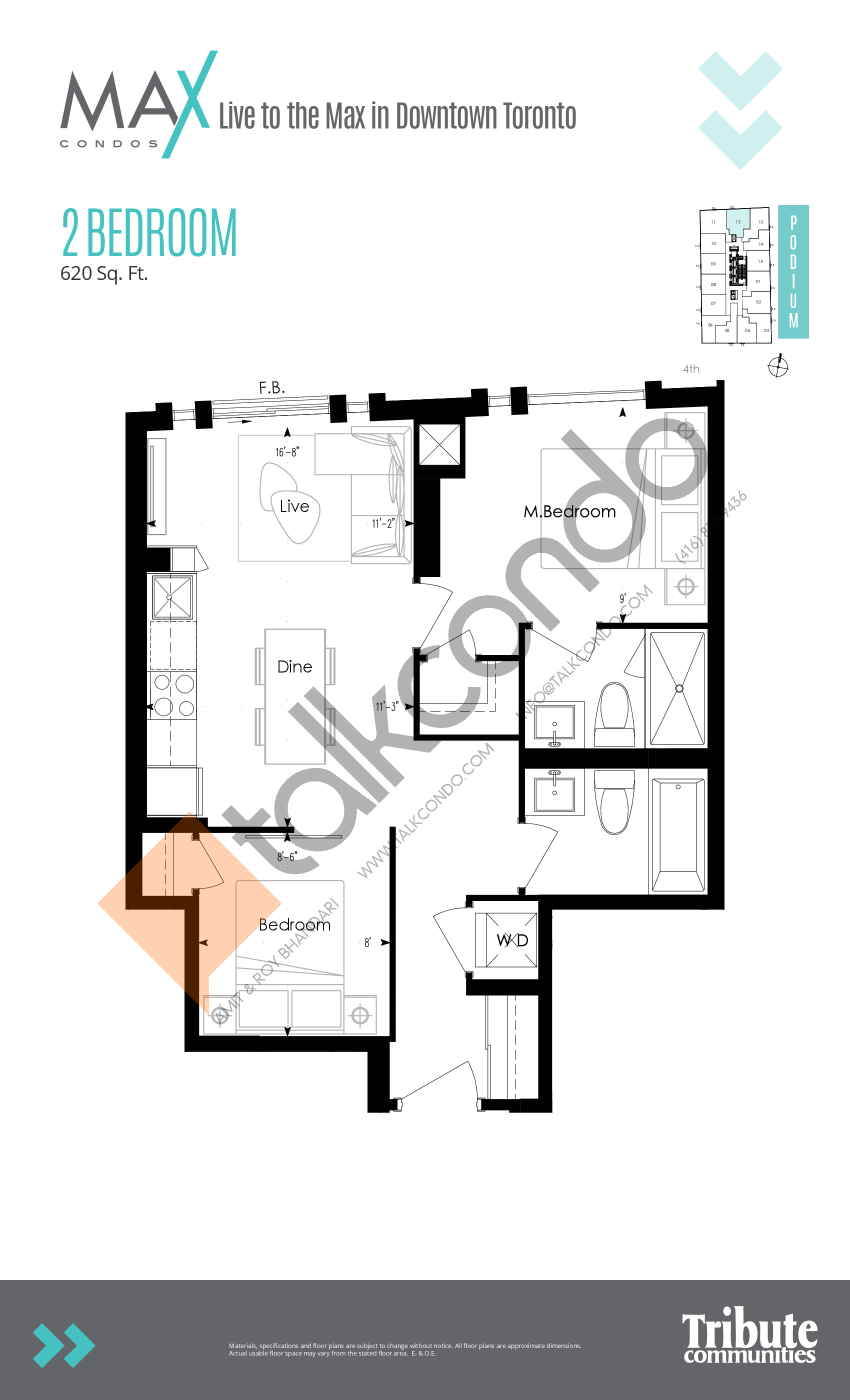 Podium 12 Floor Plan at Max Condos - 620 sq.ft