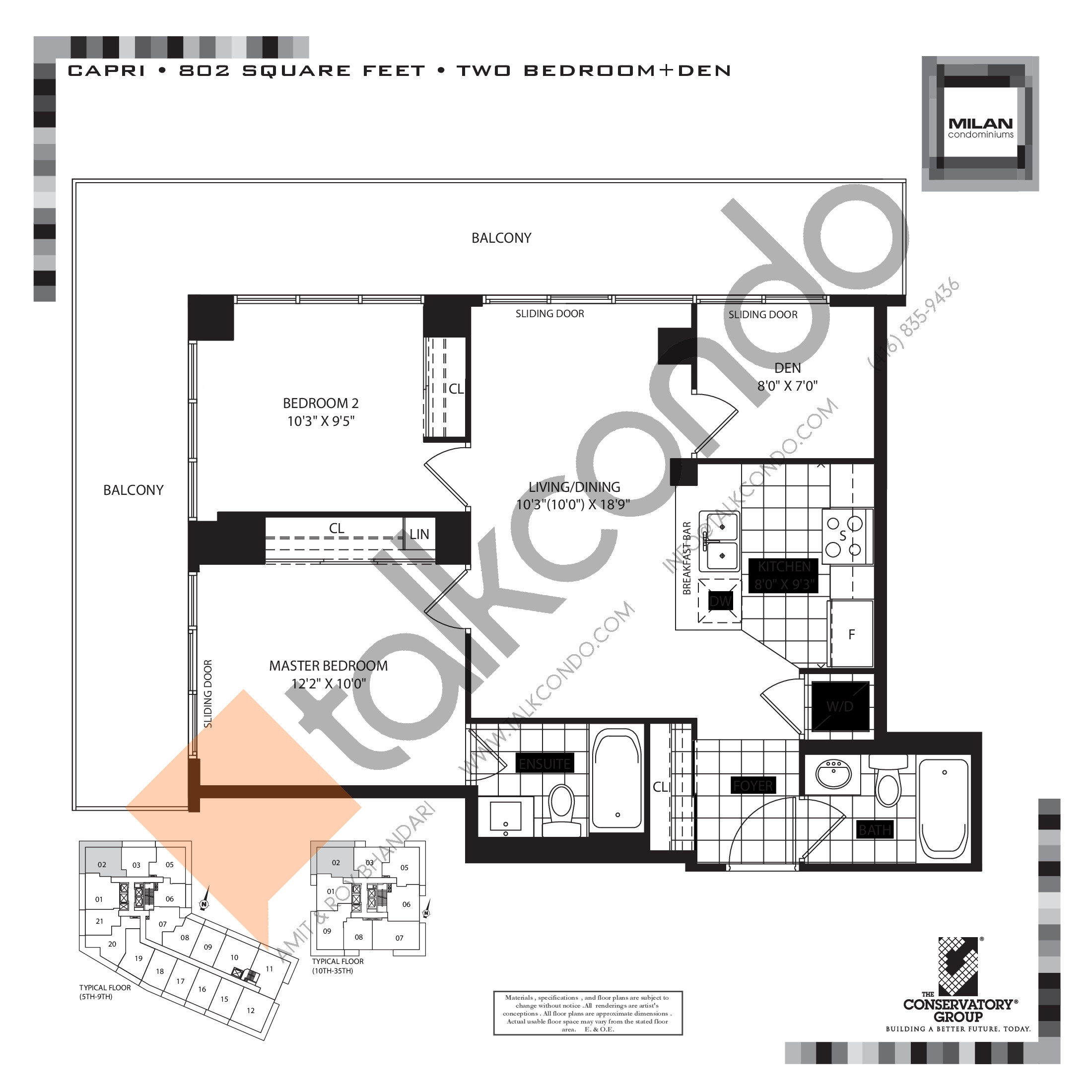 Capri Floor Plan at Milan Condos - 802 sq.ft