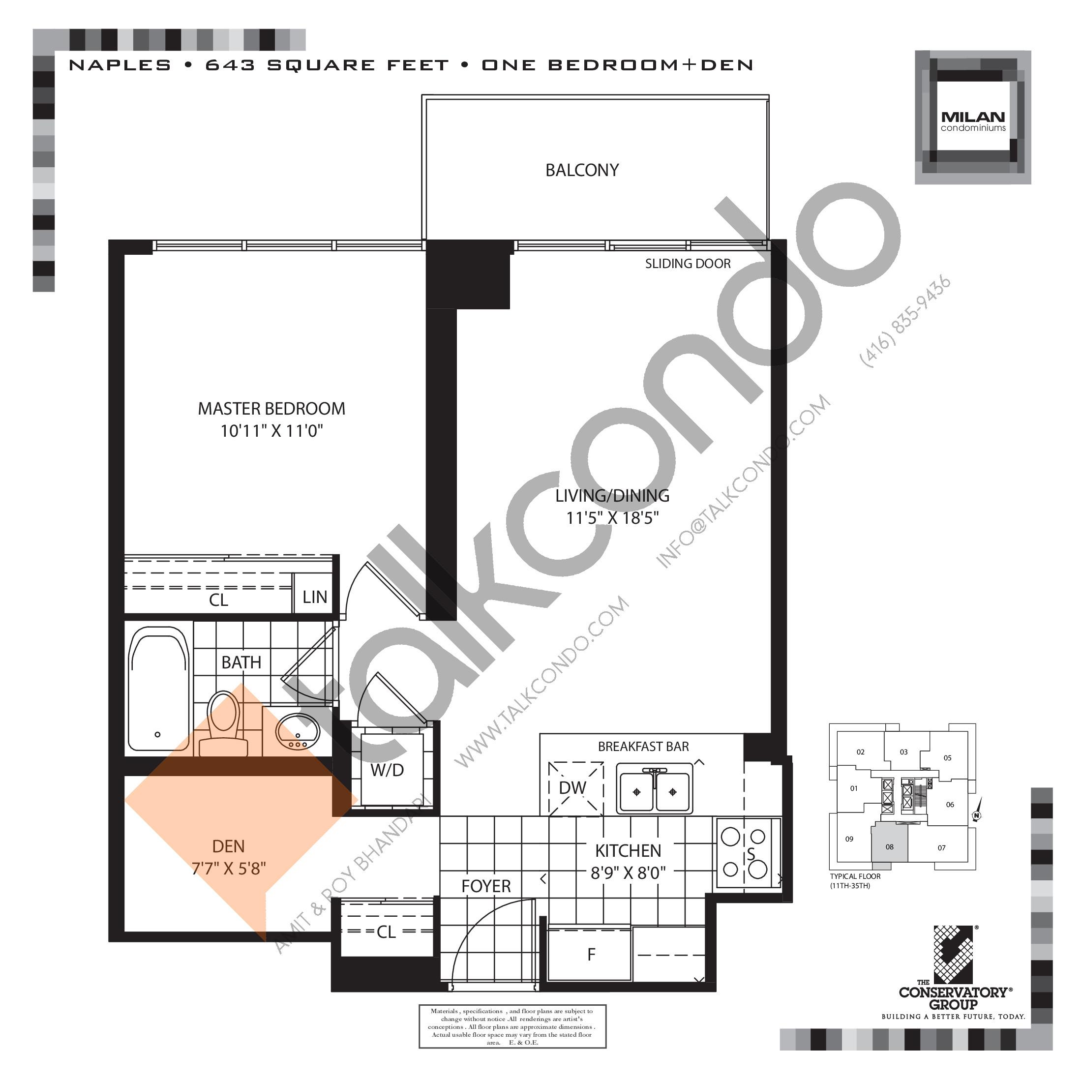 Naples Floor Plan at Milan Condos - 643 sq.ft
