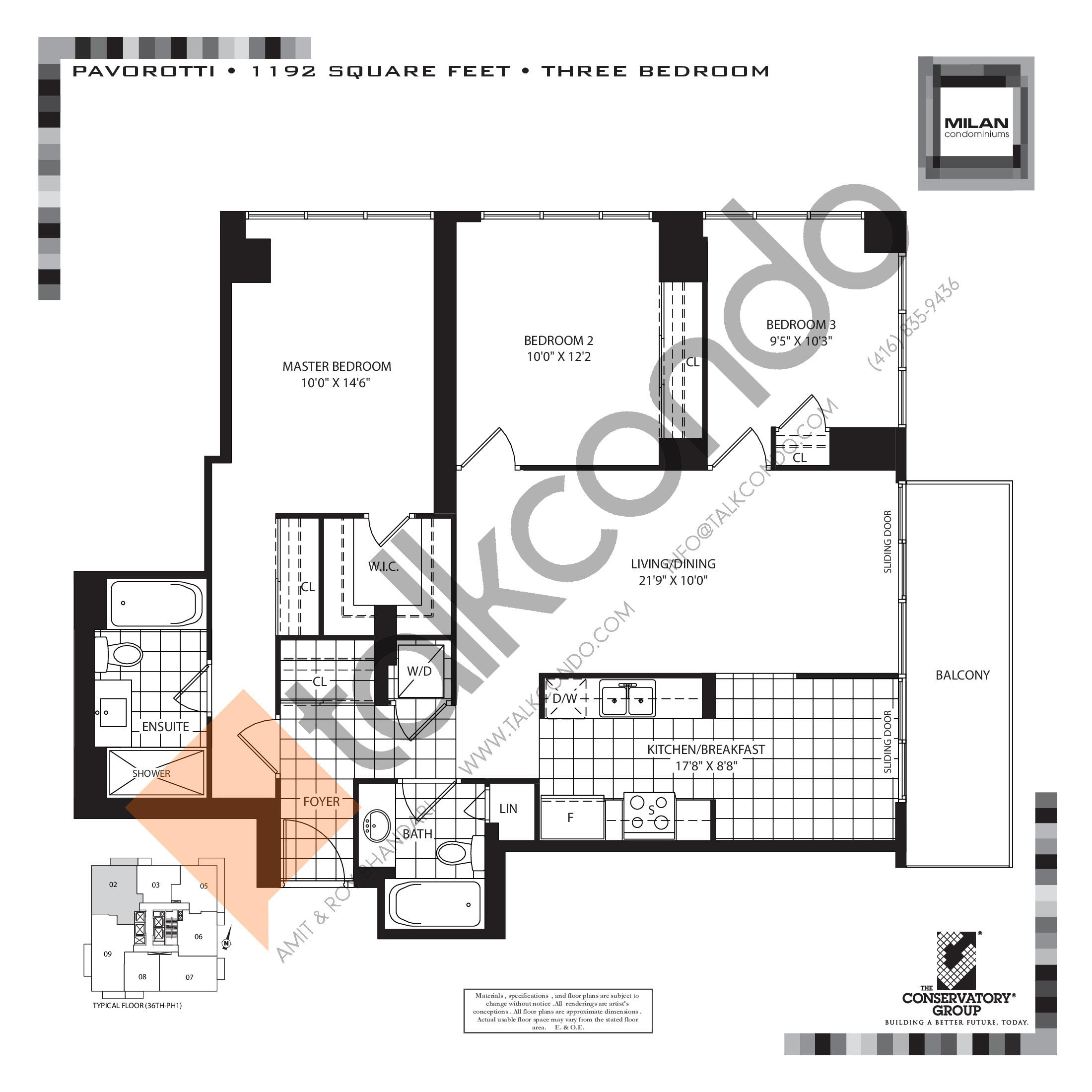 Pavorotti Floor Plan at Milan Condos - 1192 sq.ft