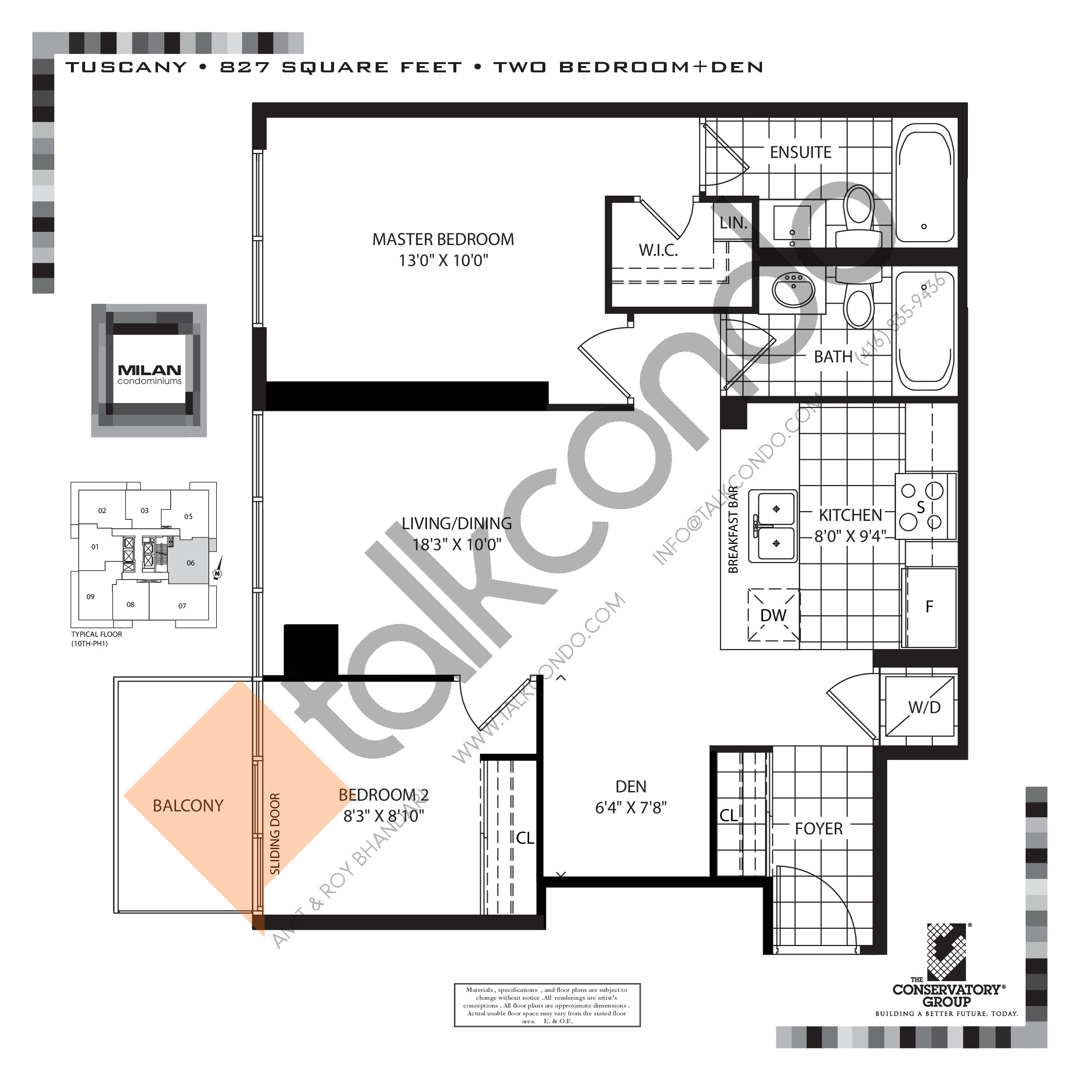 Tuscany Floor Plan at Milan Condos - 827 sq.ft
