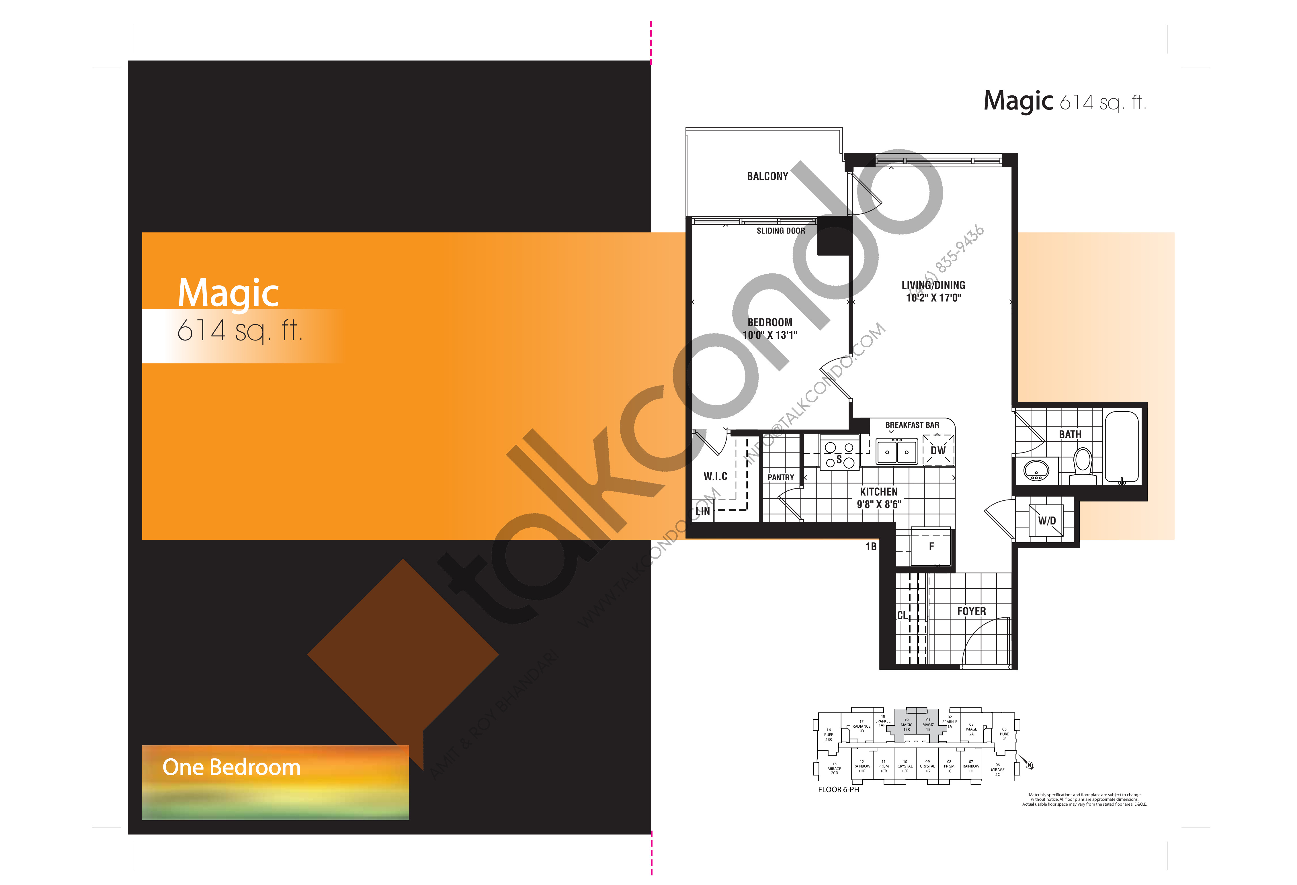 Magic Floor Plan at Mirage Condos - 614 sq.ft
