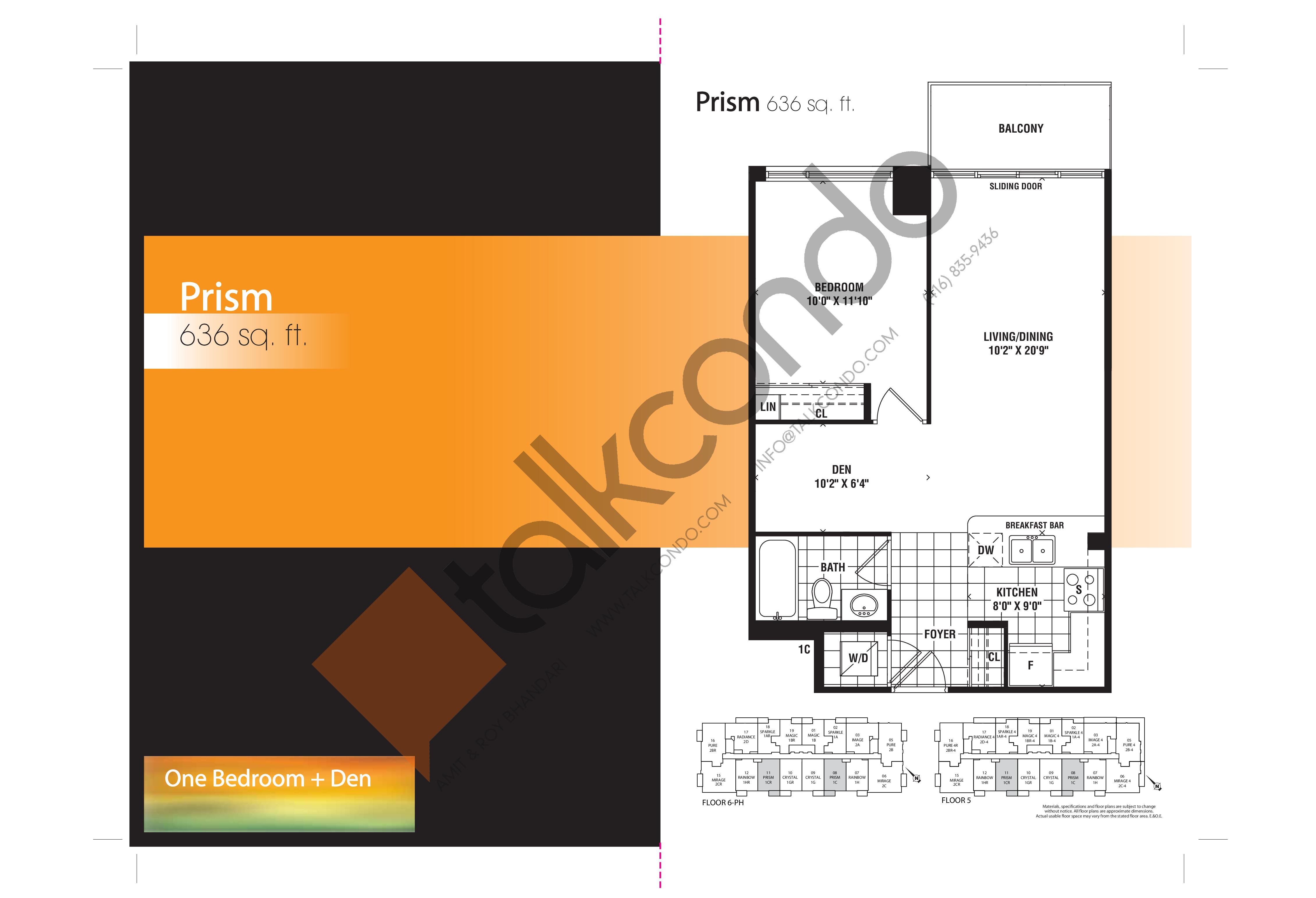 Prism Floor Plan at Mirage Condos - 636 sq.ft