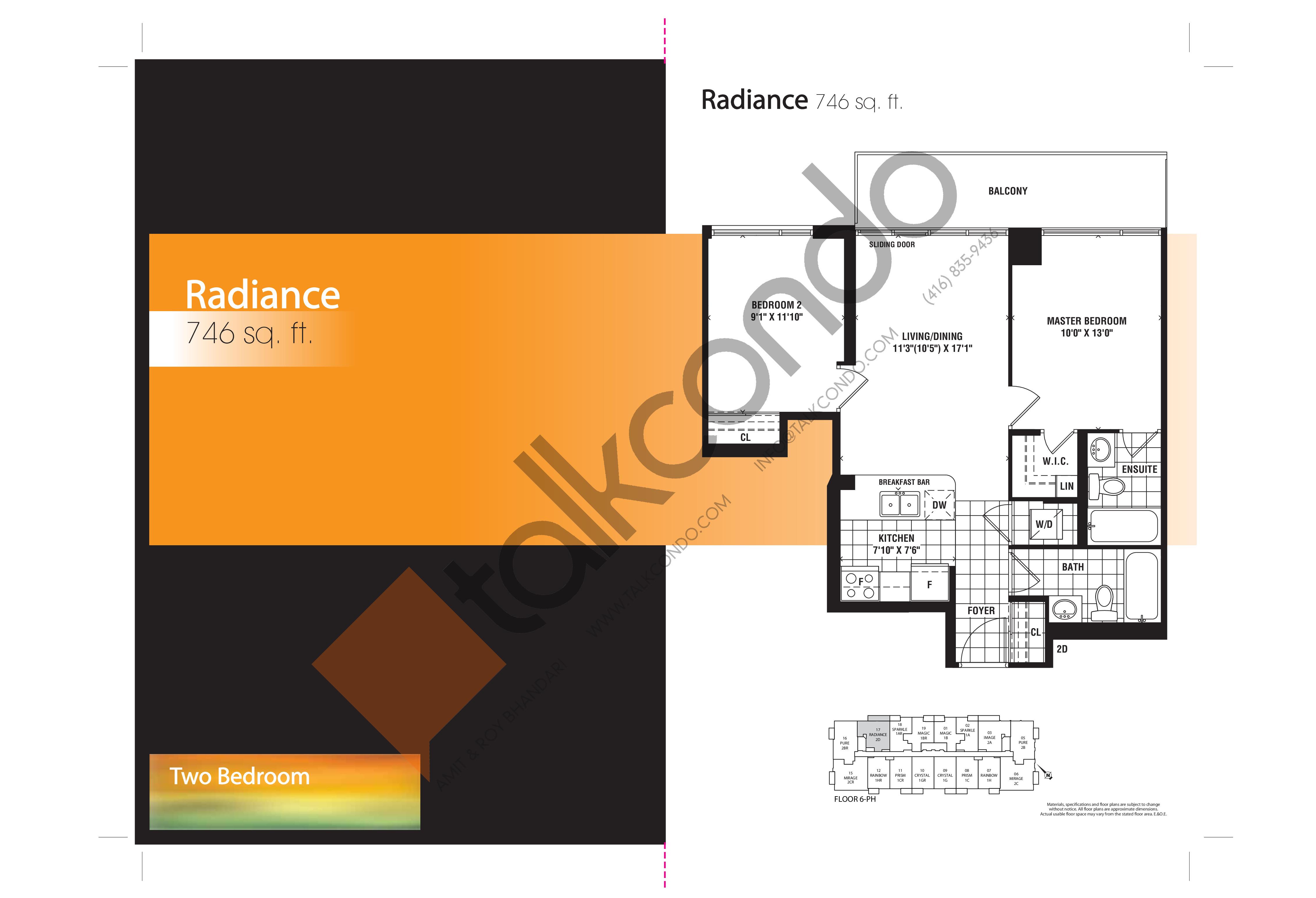 Radiance Floor Plan at Mirage Condos - 746 sq.ft