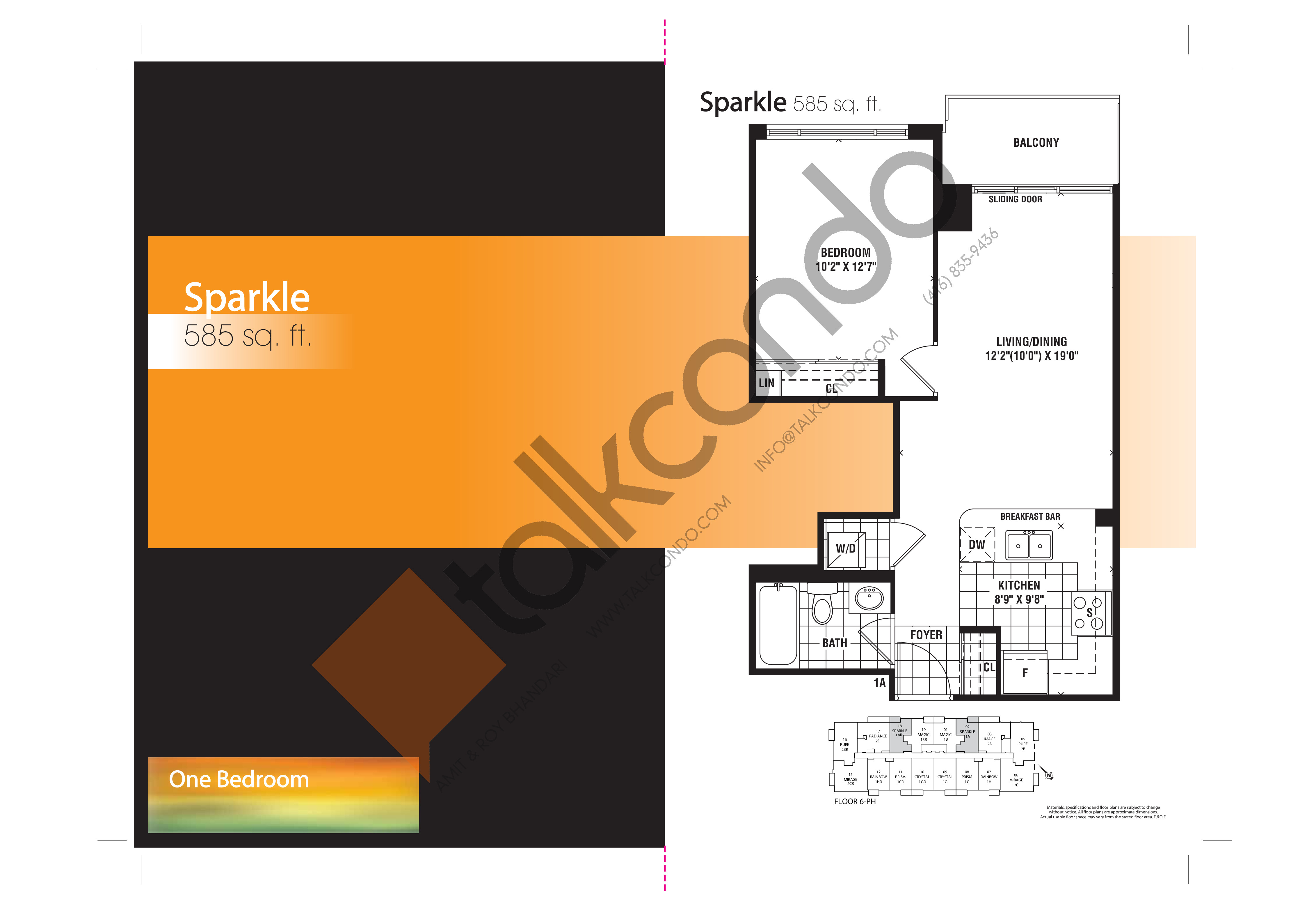 Sparkle Floor Plan at Mirage Condos - 585 sq.ft