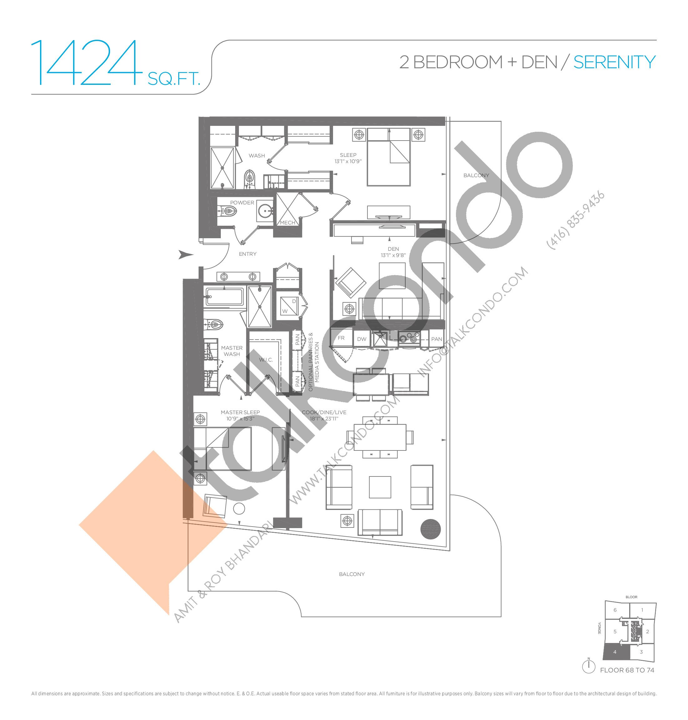 Serenity Floor Plan at One Bloor Condos - 1424 sq.ft