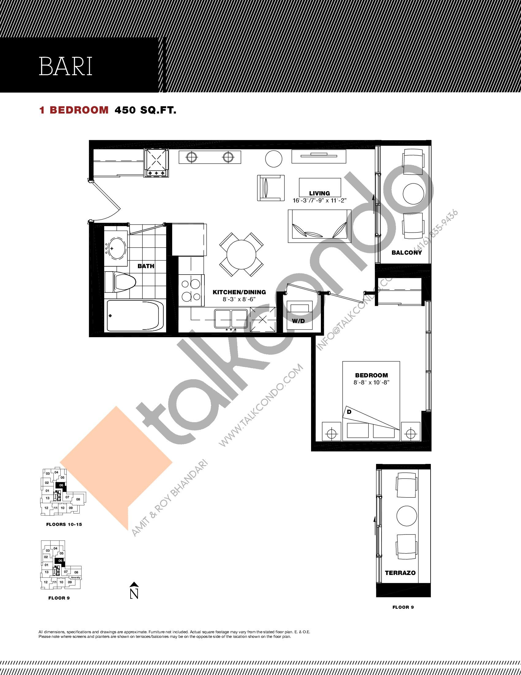Bari Floor Plan at Residenze Palazzo at Treviso 3 Condos - 450 sq.ft