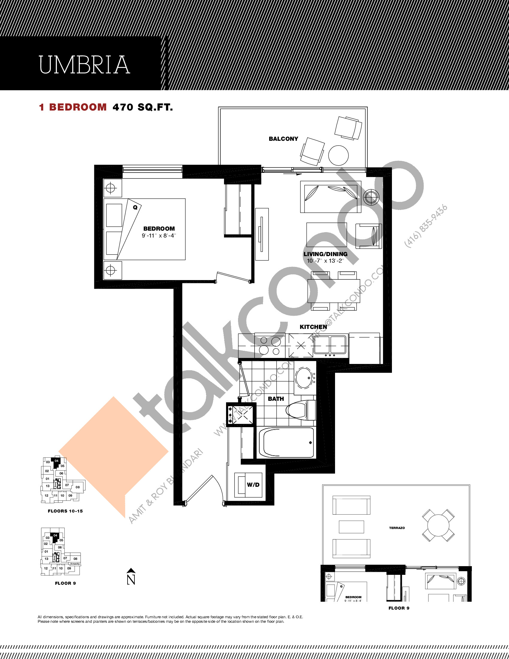 Umbria Floor Plan at Residenze Palazzo at Treviso 3 Condos - 470 sq.ft