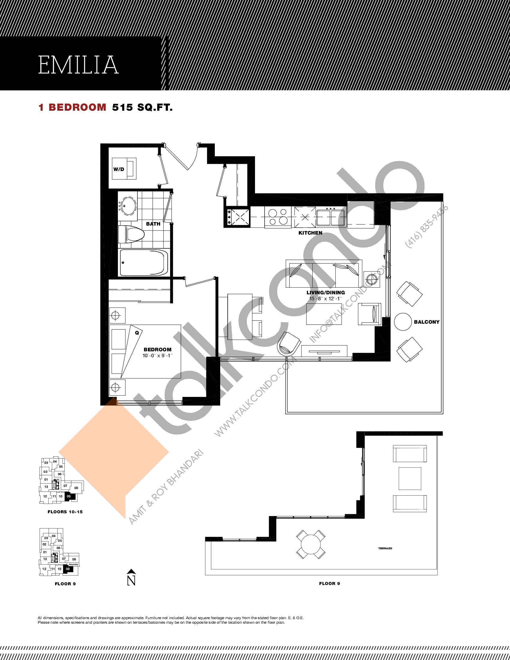 Emilia Floor Plan at Residenze Palazzo at Treviso 3 Condos - 515 sq.ft