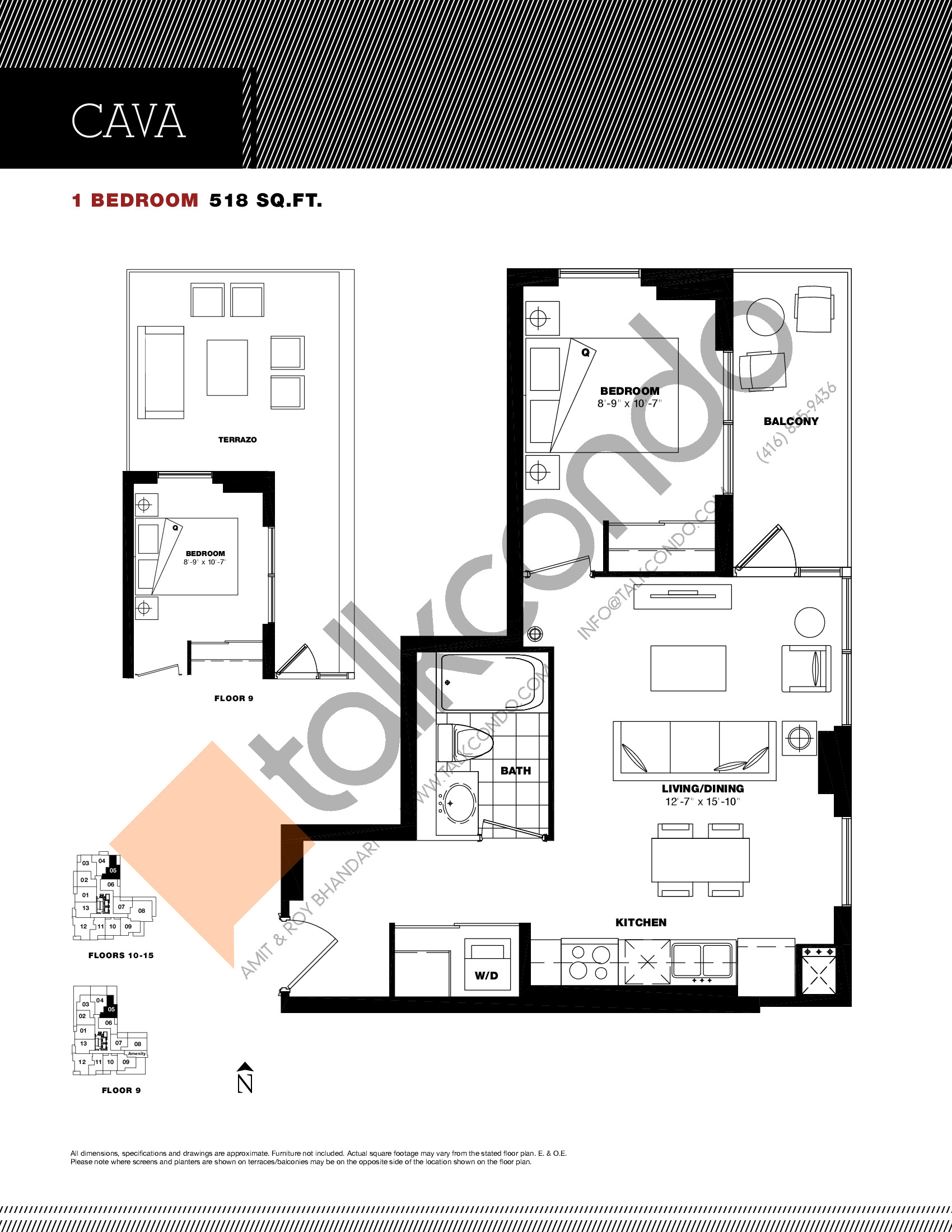 Cava Floor Plan at Residenze Palazzo at Treviso 3 Condos - 518 sq.ft