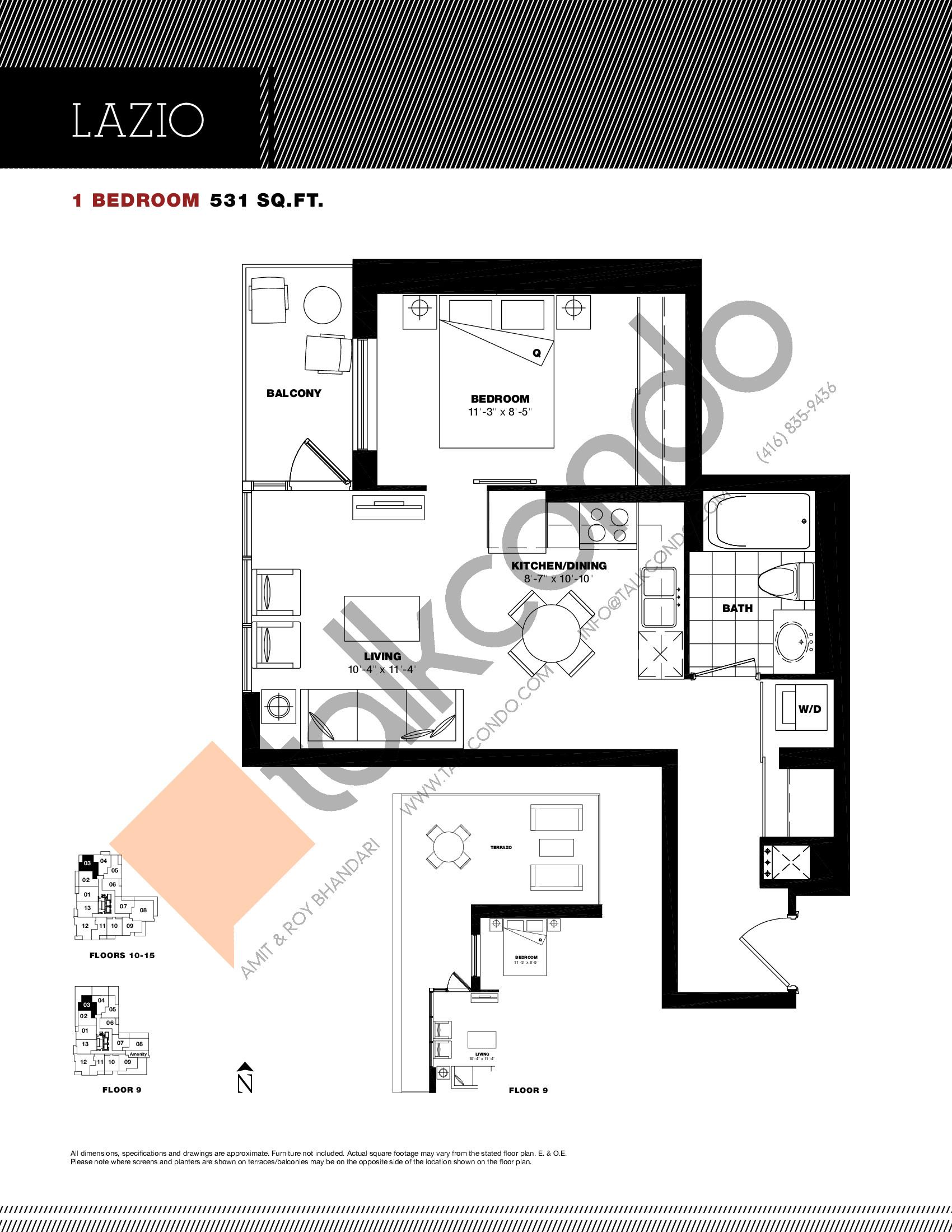 Lazio Floor Plan at Residenze Palazzo at Treviso 3 Condos - 531 sq.ft