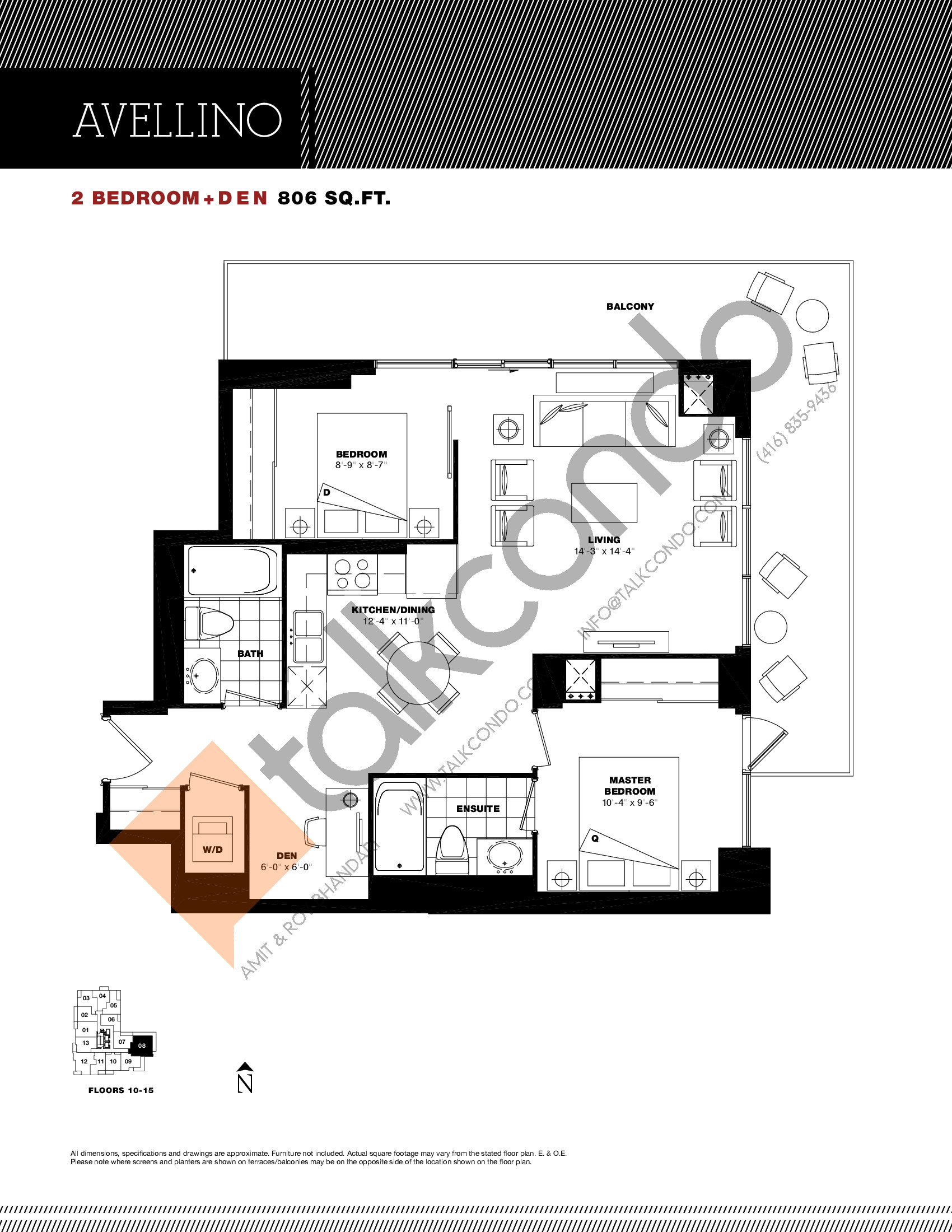 Avellino Floor Plan at Residenze Palazzo at Treviso 3 Condos - 806 sq.ft