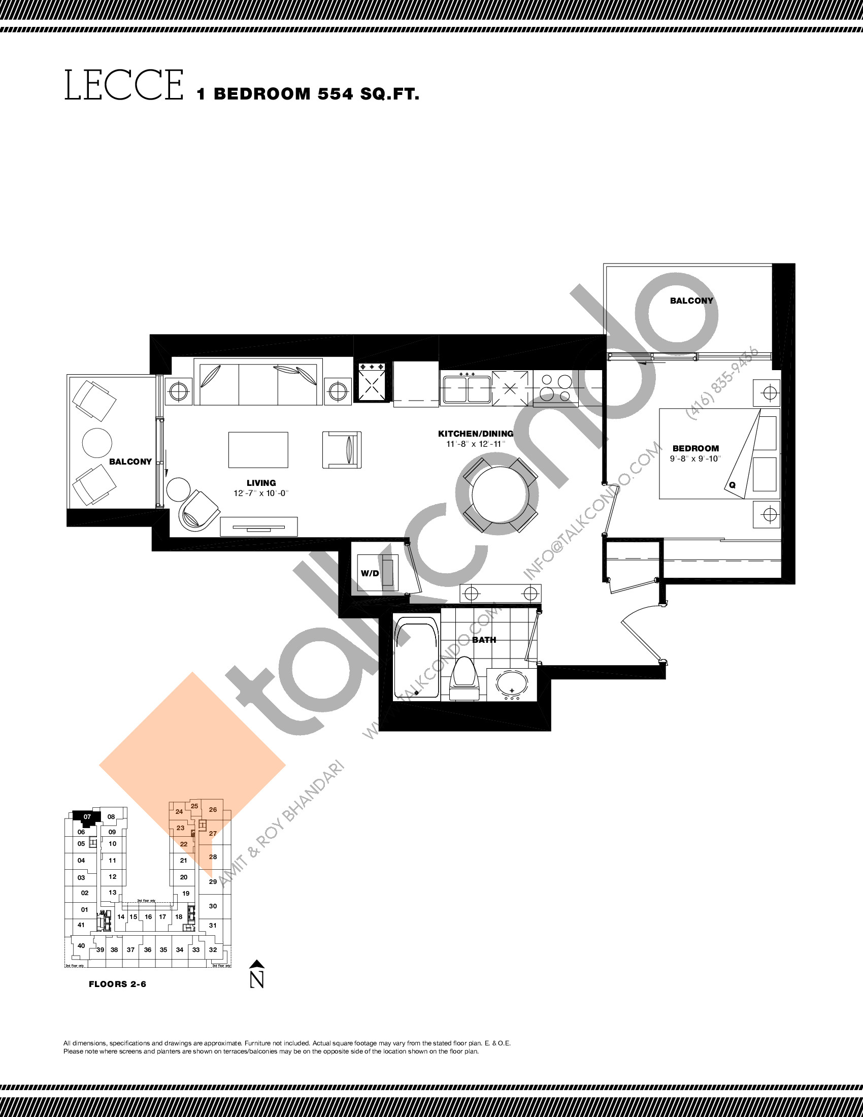 Lecce Floor Plan at Residenze Palazzo at Treviso 3 Condos - 554 sq.ft