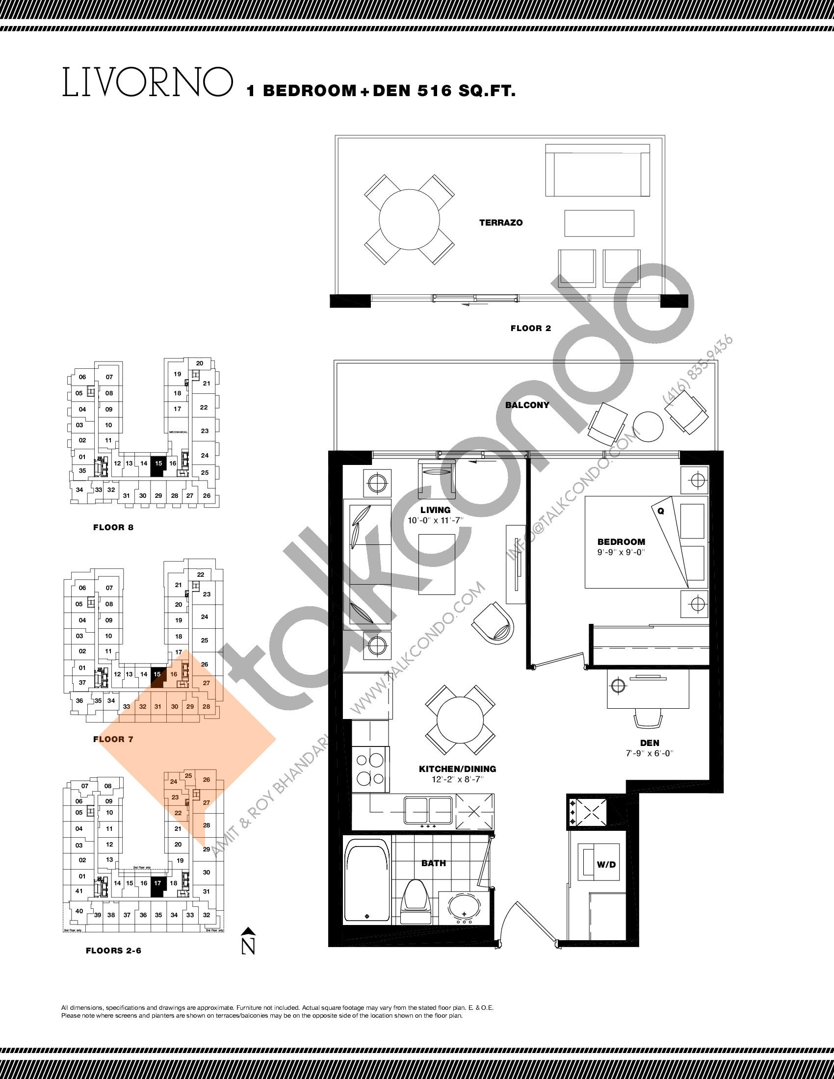 Livorno Floor Plan at Residenze Palazzo at Treviso 3 Condos - 516 sq.ft