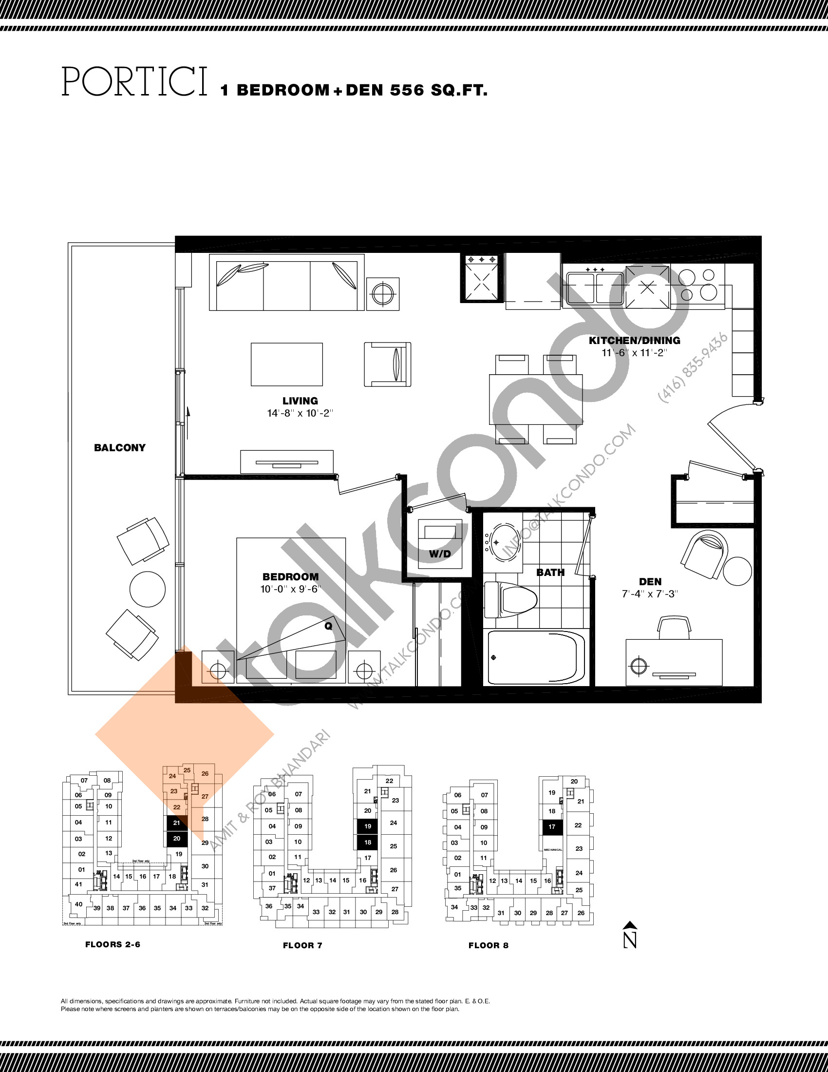 Portici Floor Plan at Residenze Palazzo at Treviso 3 Condos - 556 sq.ft