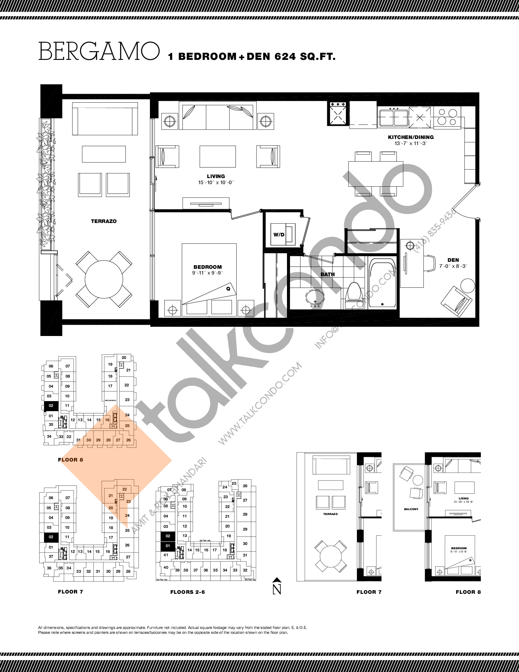 Bergamo Floor Plan at Residenze Palazzo at Treviso 3 Condos - 624 sq.ft