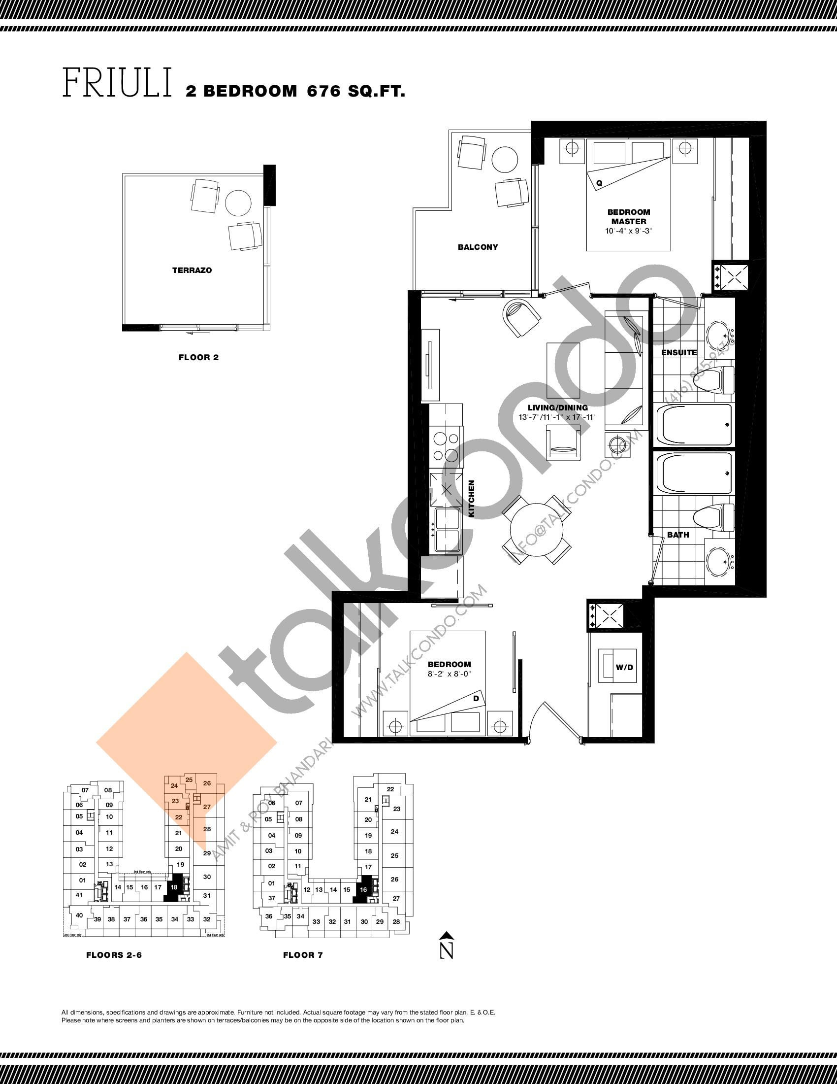 Friuli Floor Plan at Residenze Palazzo at Treviso 3 Condos - 676 sq.ft