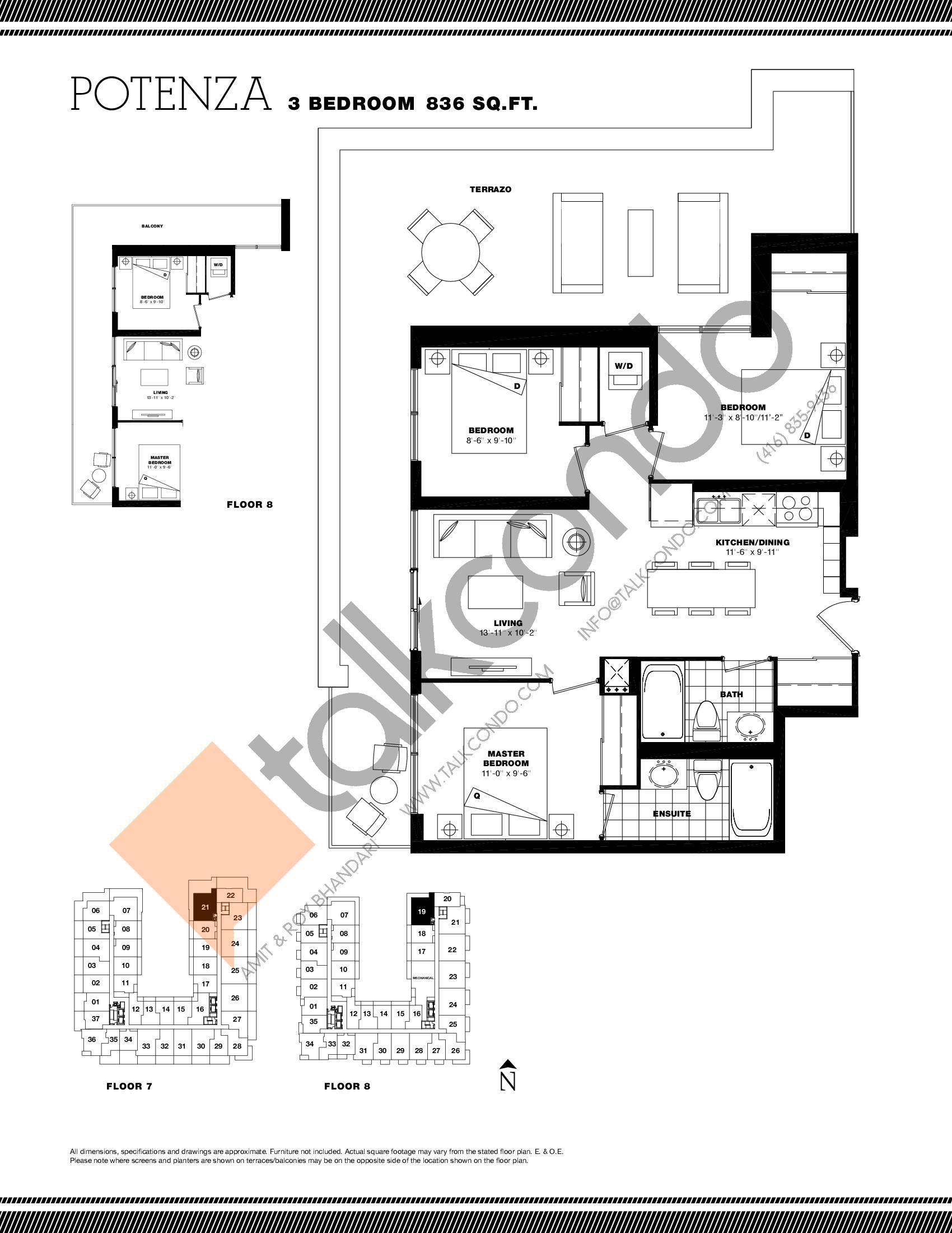 Potenza Floor Plan at Residenze Palazzo at Treviso 3 Condos - 836 sq.ft