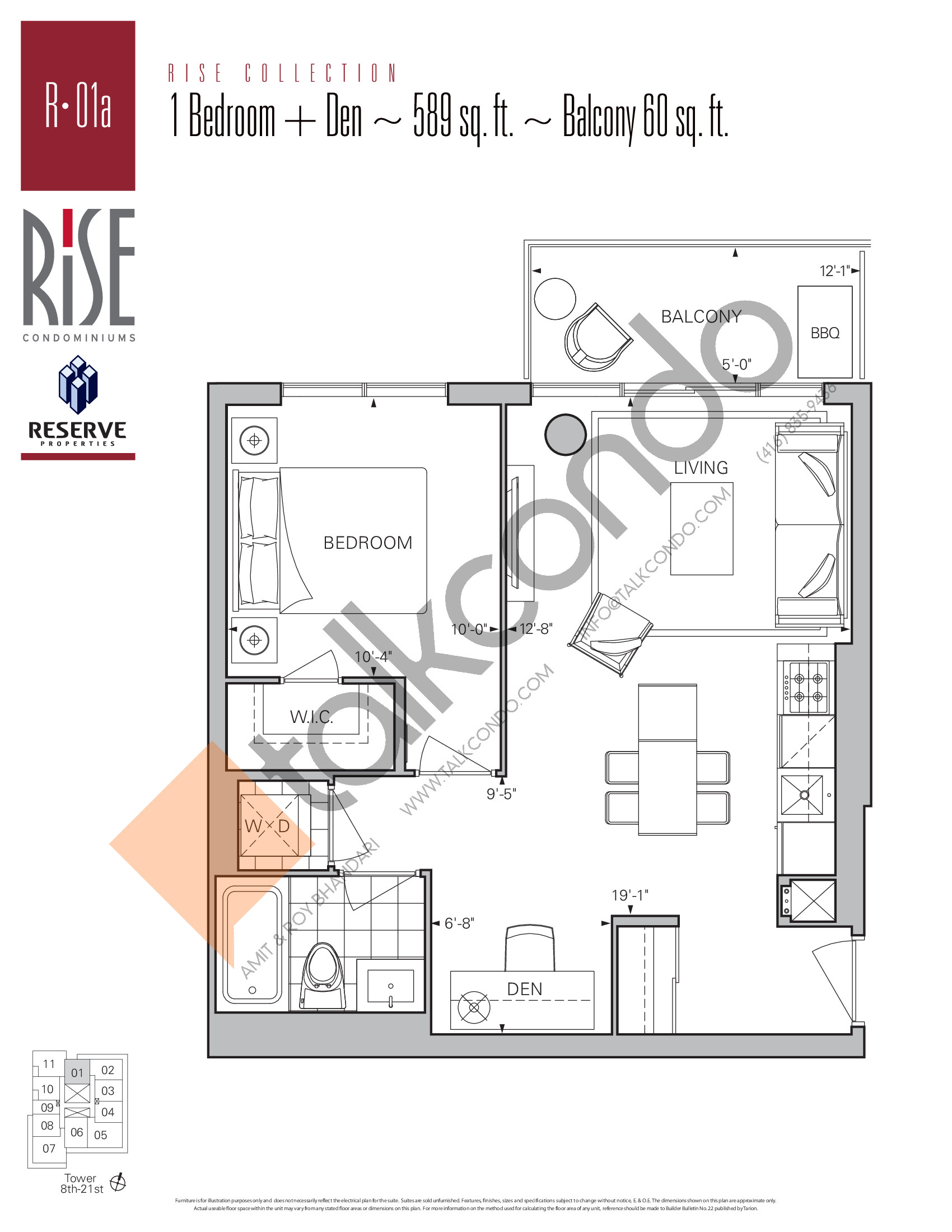 R-01a Floor Plan at Rise Condos - 589 sq.ft