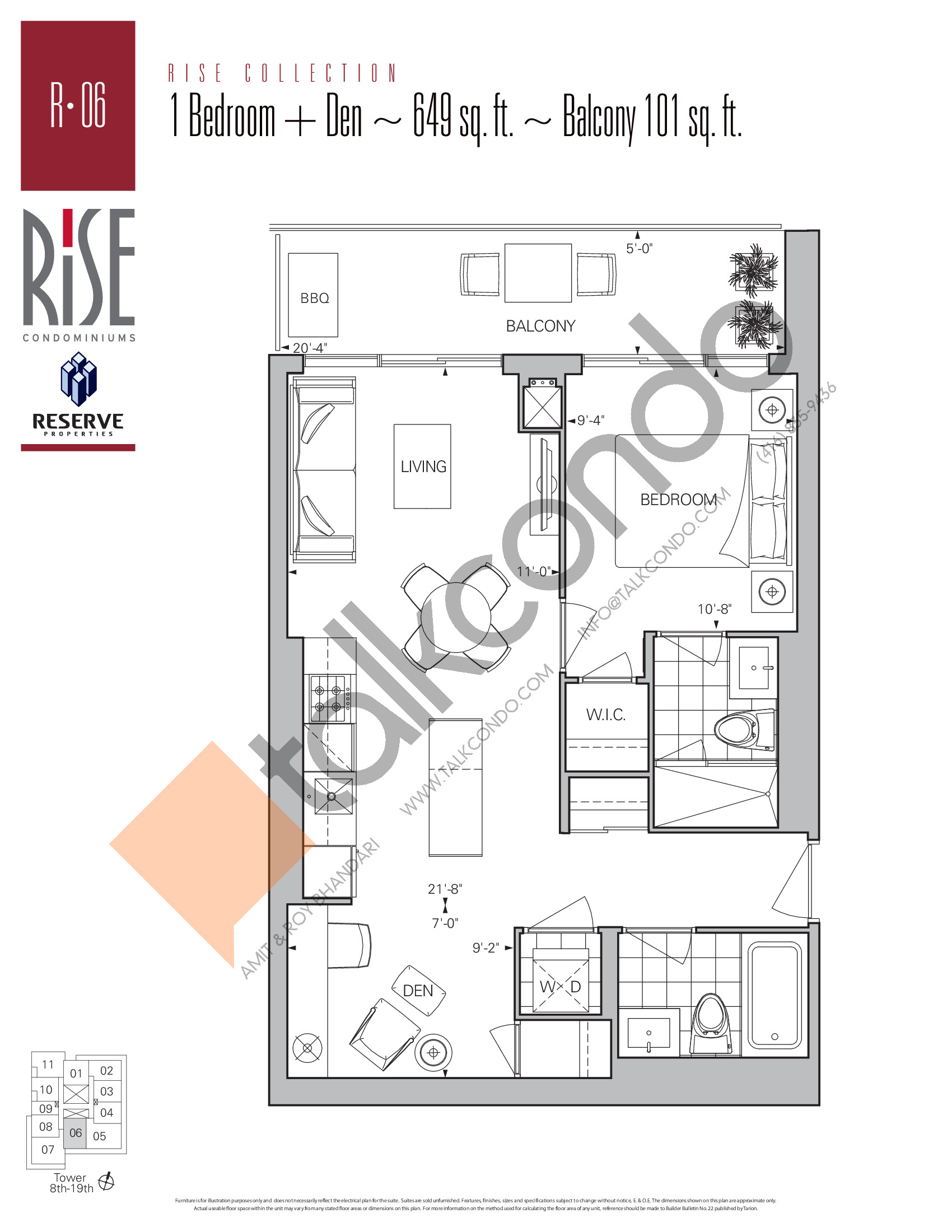 R-06 Floor Plan at Rise Condos - 649 sq.ft