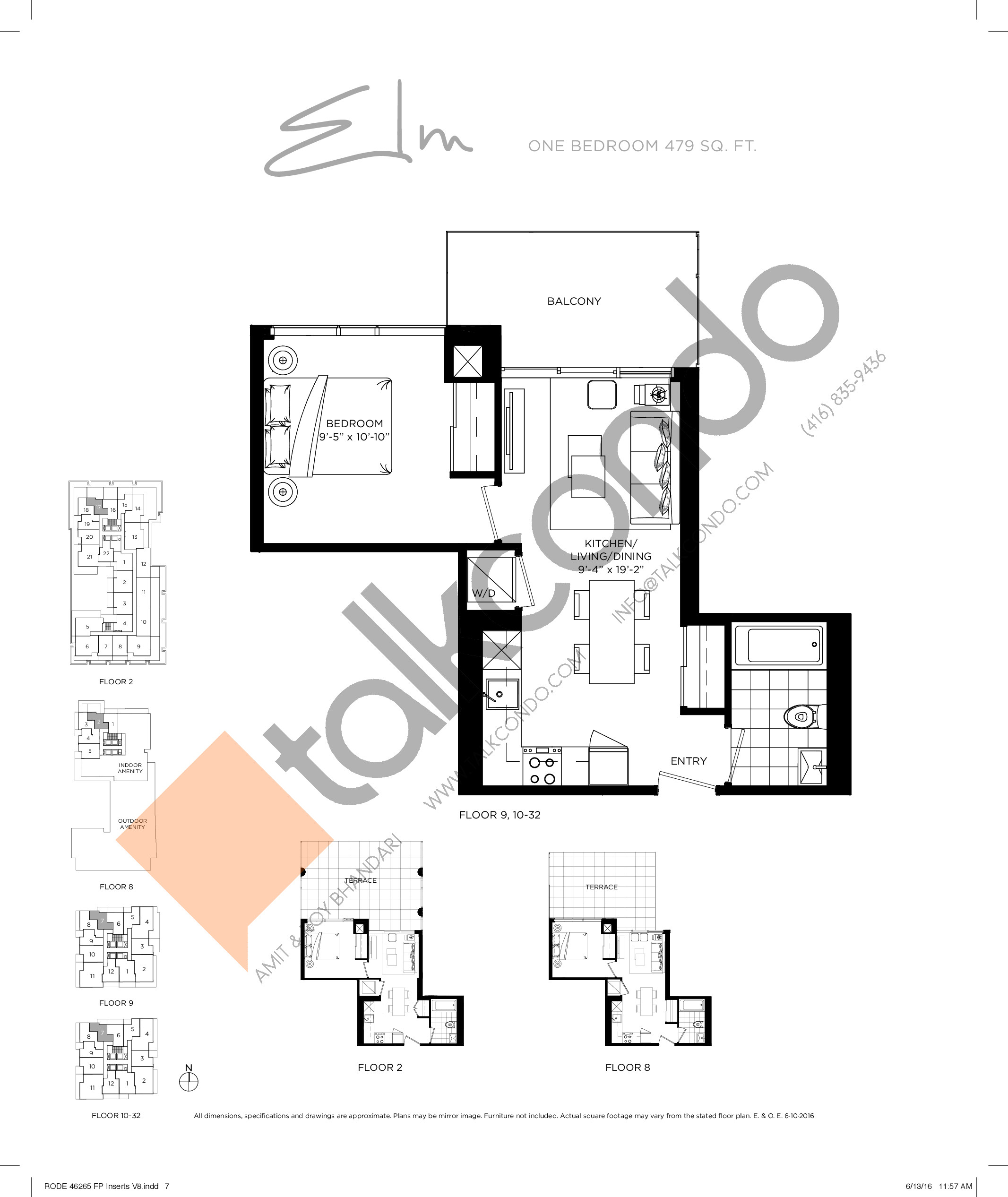 Elm Floor Plan at Rodeo Drive Condos - 479 sq.ft